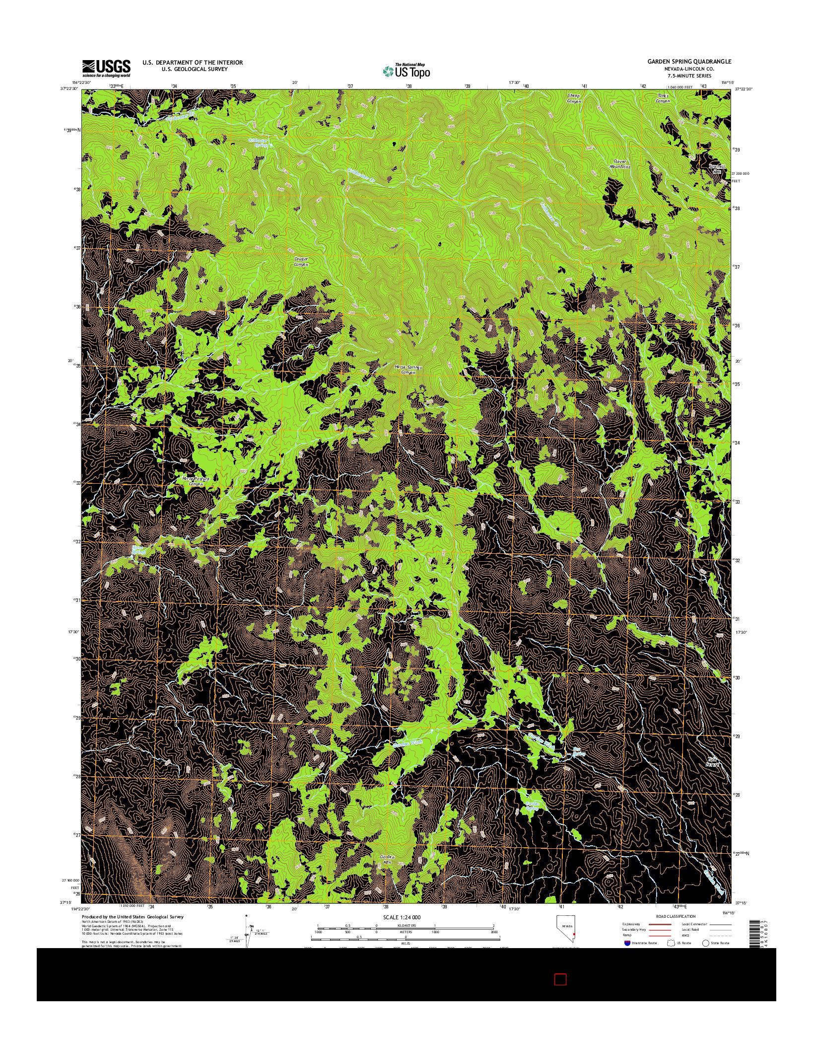 USGS US TOPO 7.5-MINUTE MAP FOR GARDEN SPRING, NV 2014