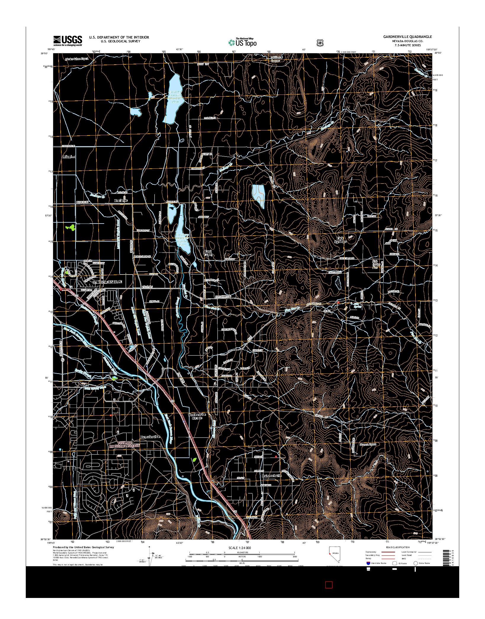USGS US TOPO 7.5-MINUTE MAP FOR GARDNERVILLE, NV 2014
