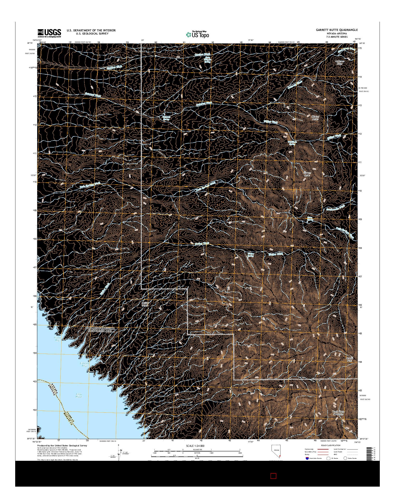 USGS US TOPO 7.5-MINUTE MAP FOR GARRETT BUTTE, NV-AZ 2014