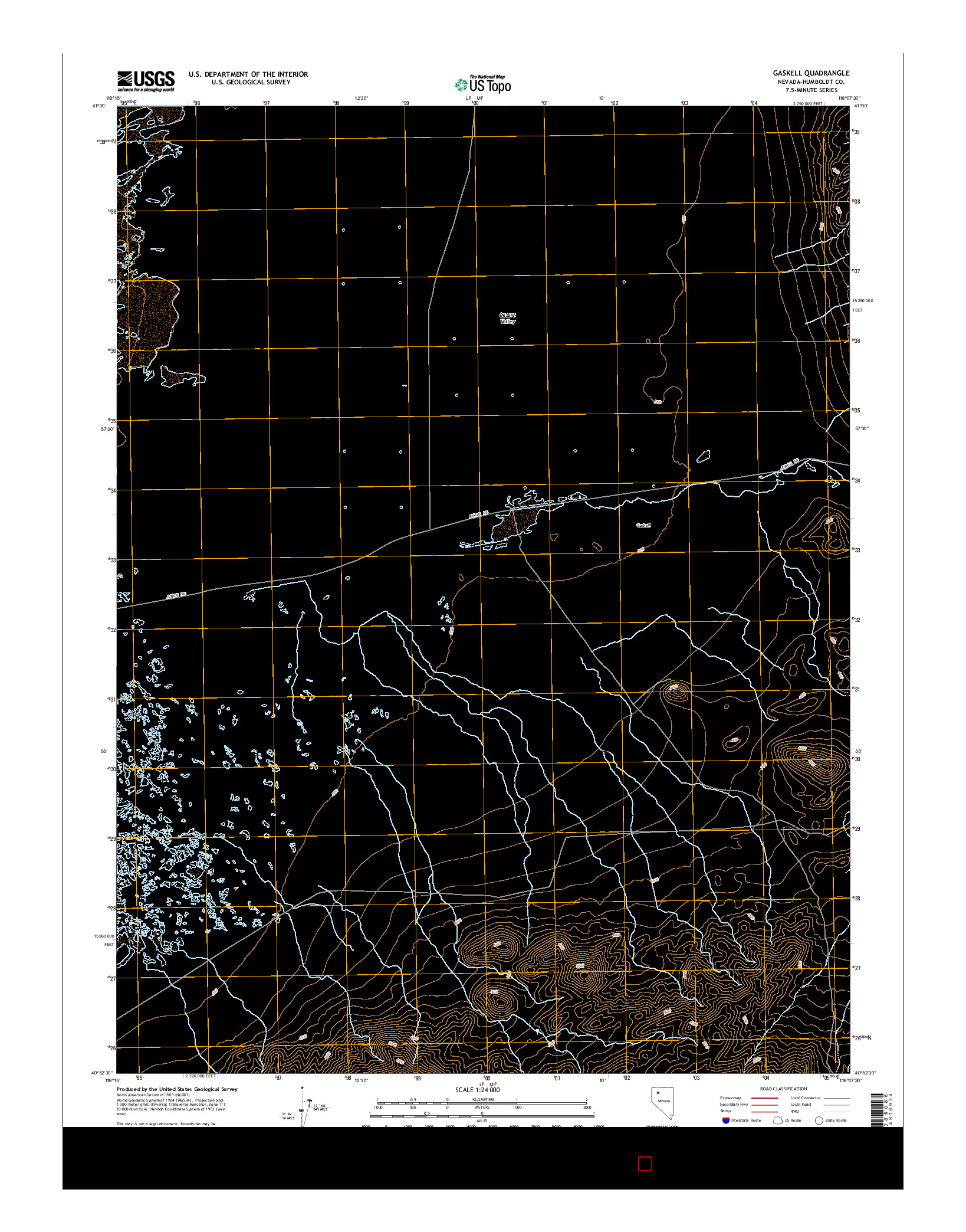 USGS US TOPO 7.5-MINUTE MAP FOR GASKELL, NV 2014