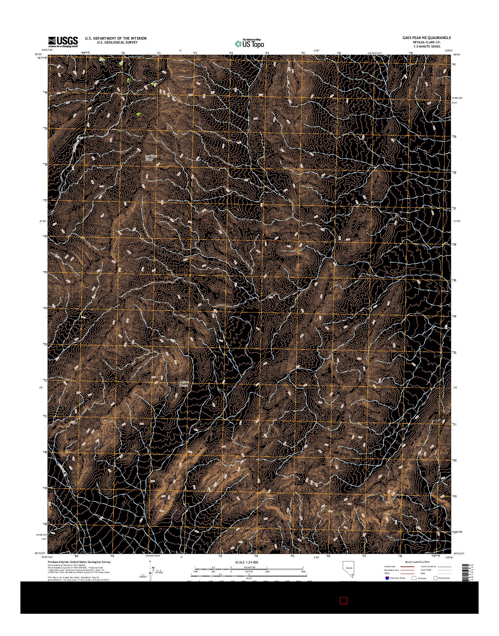 USGS US TOPO 7.5-MINUTE MAP FOR GASS PEAK NE, NV 2014
