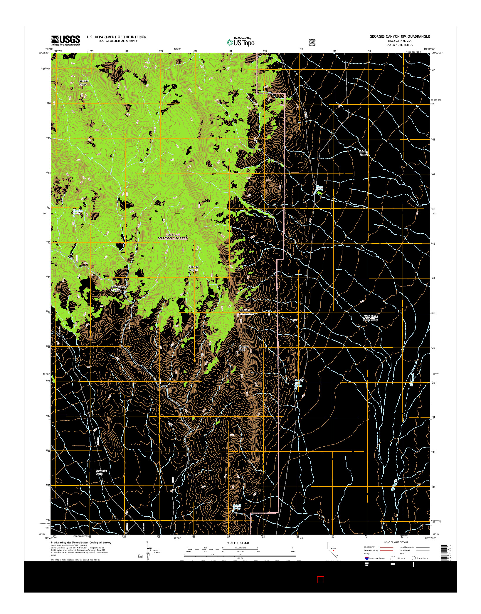 USGS US TOPO 7.5-MINUTE MAP FOR GEORGES CANYON RIM, NV 2014