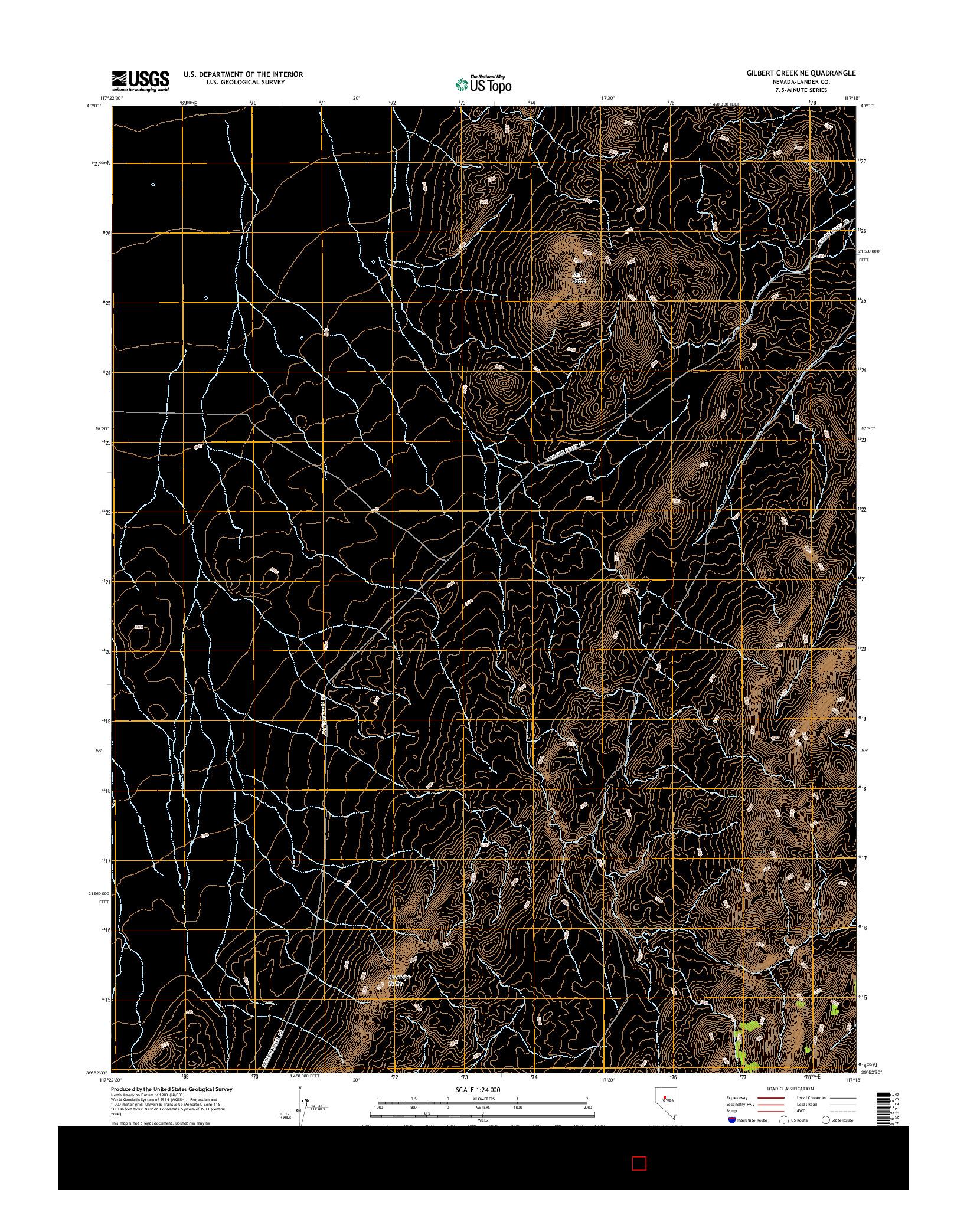 USGS US TOPO 7.5-MINUTE MAP FOR GILBERT CREEK NE, NV 2014