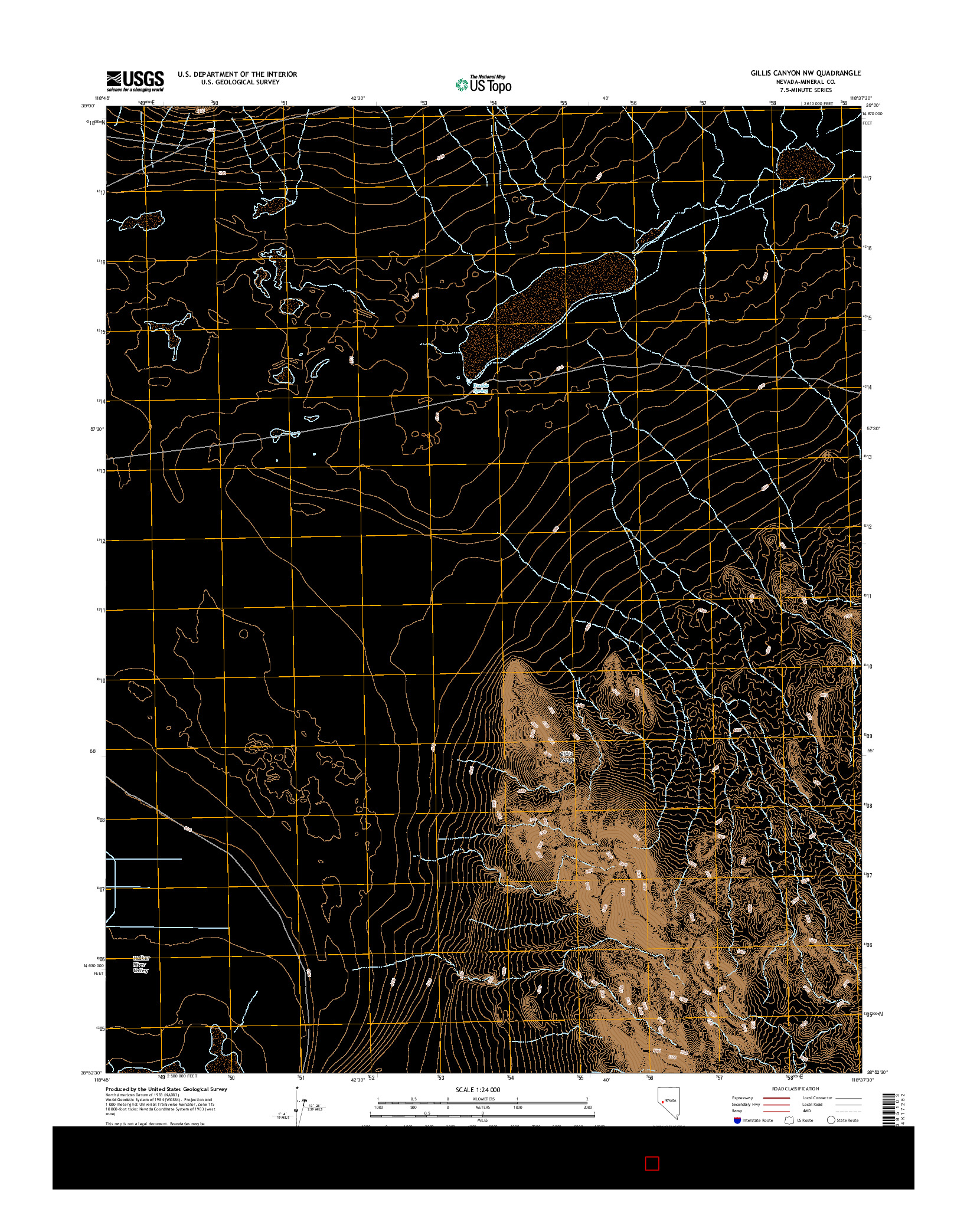 USGS US TOPO 7.5-MINUTE MAP FOR GILLIS CANYON NW, NV 2014