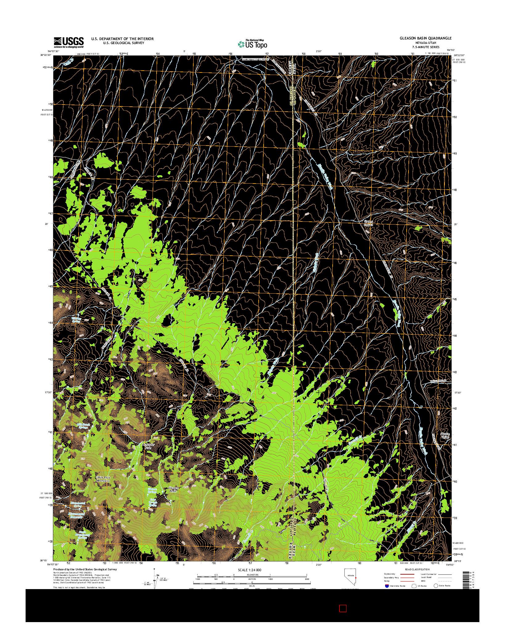 USGS US TOPO 7.5-MINUTE MAP FOR GLEASON BASIN, NV-UT 2014