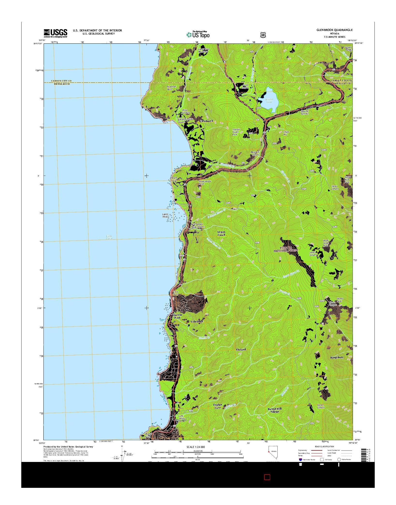 USGS US TOPO 7.5-MINUTE MAP FOR GLENBROOK, NV 2014