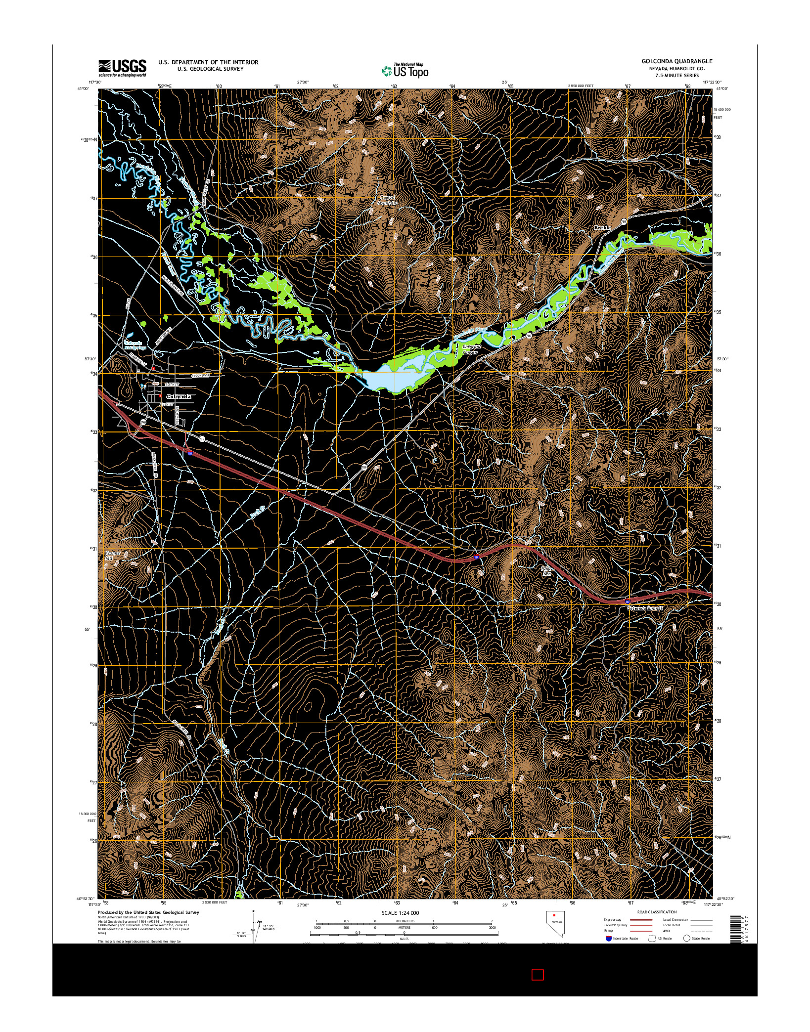 USGS US TOPO 7.5-MINUTE MAP FOR GOLCONDA, NV 2014