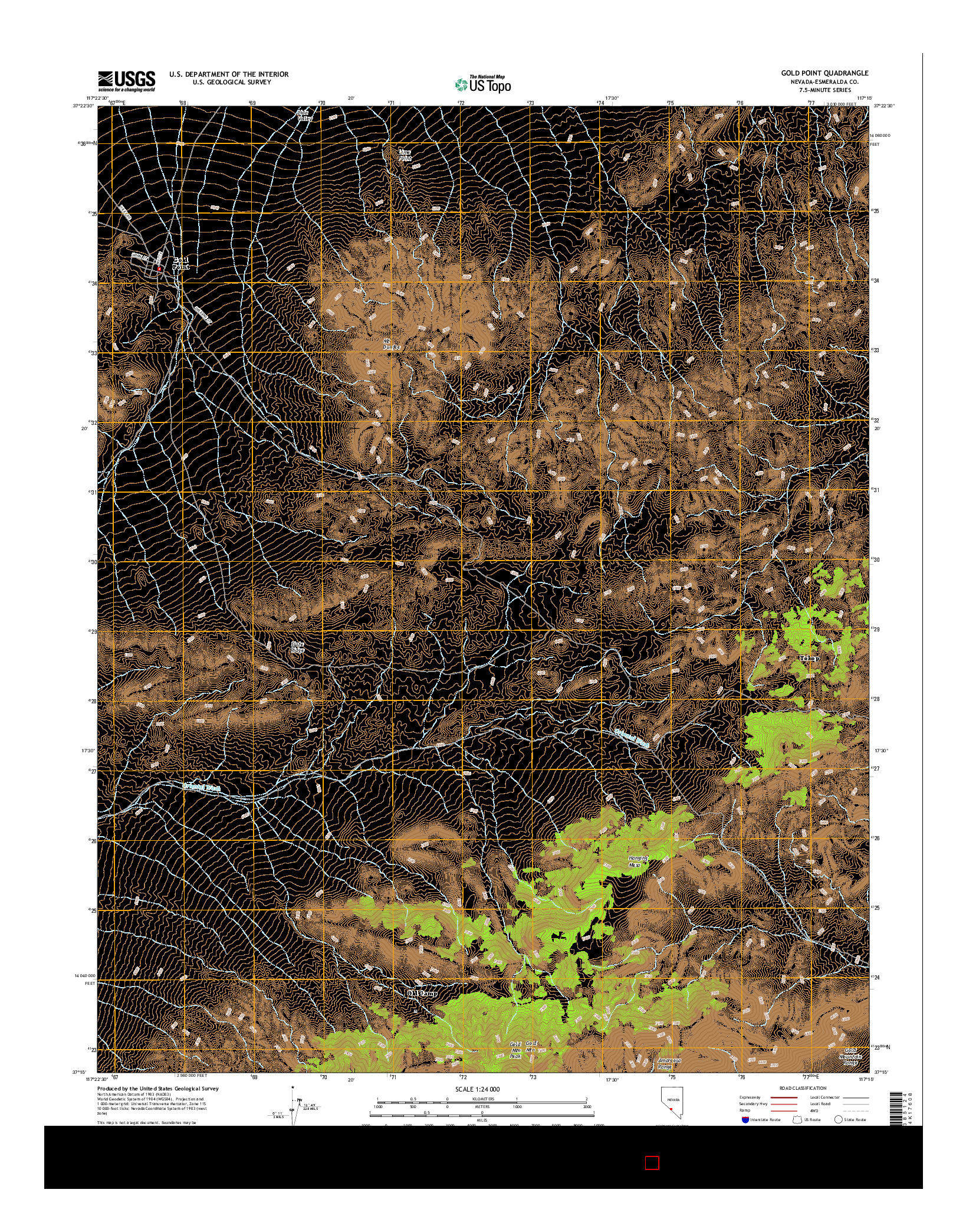 USGS US TOPO 7.5-MINUTE MAP FOR GOLD POINT, NV 2014