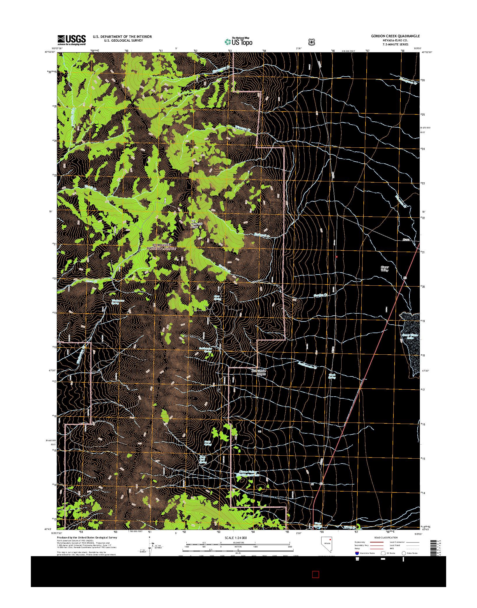 USGS US TOPO 7.5-MINUTE MAP FOR GORDON CREEK, NV 2014