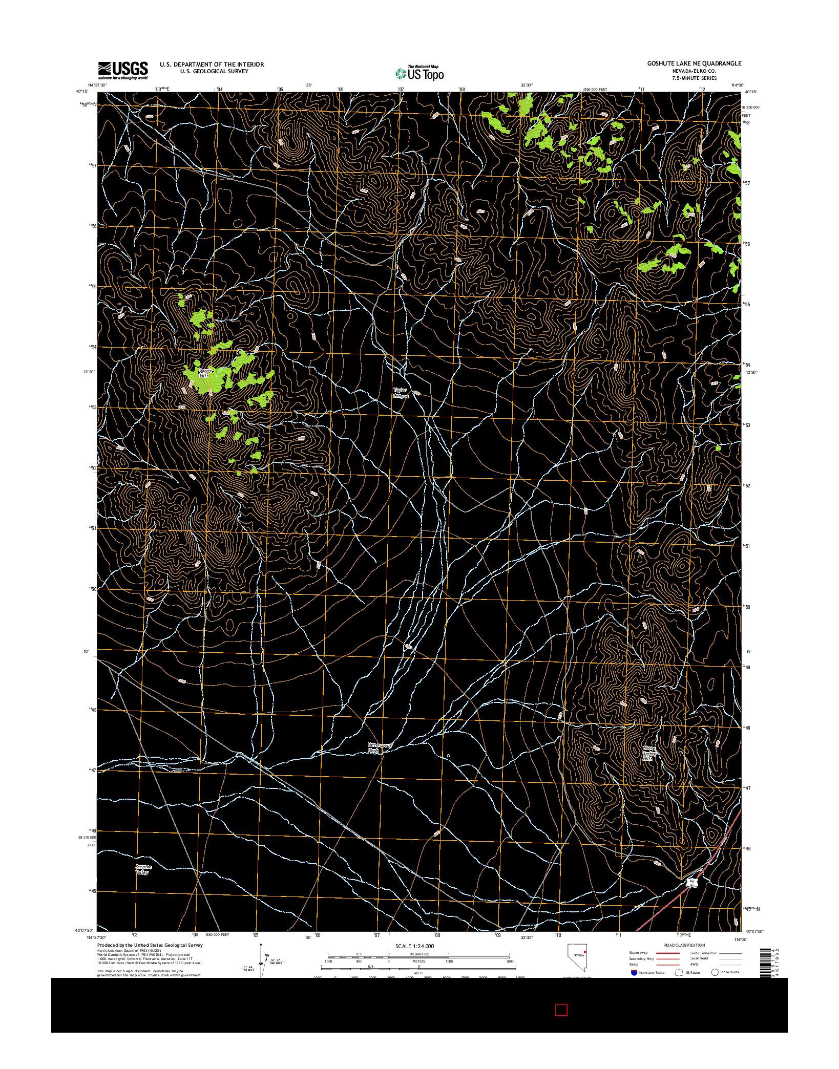 USGS US TOPO 7.5-MINUTE MAP FOR GOSHUTE LAKE NE, NV 2014