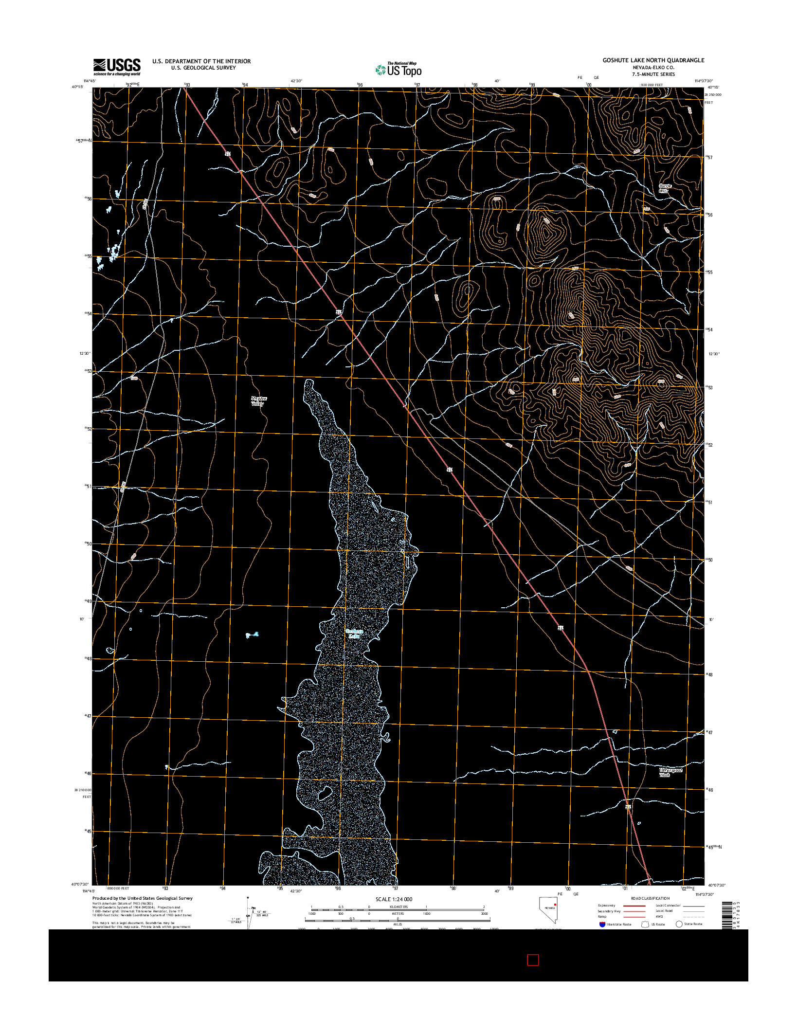 USGS US TOPO 7.5-MINUTE MAP FOR GOSHUTE LAKE NORTH, NV 2014