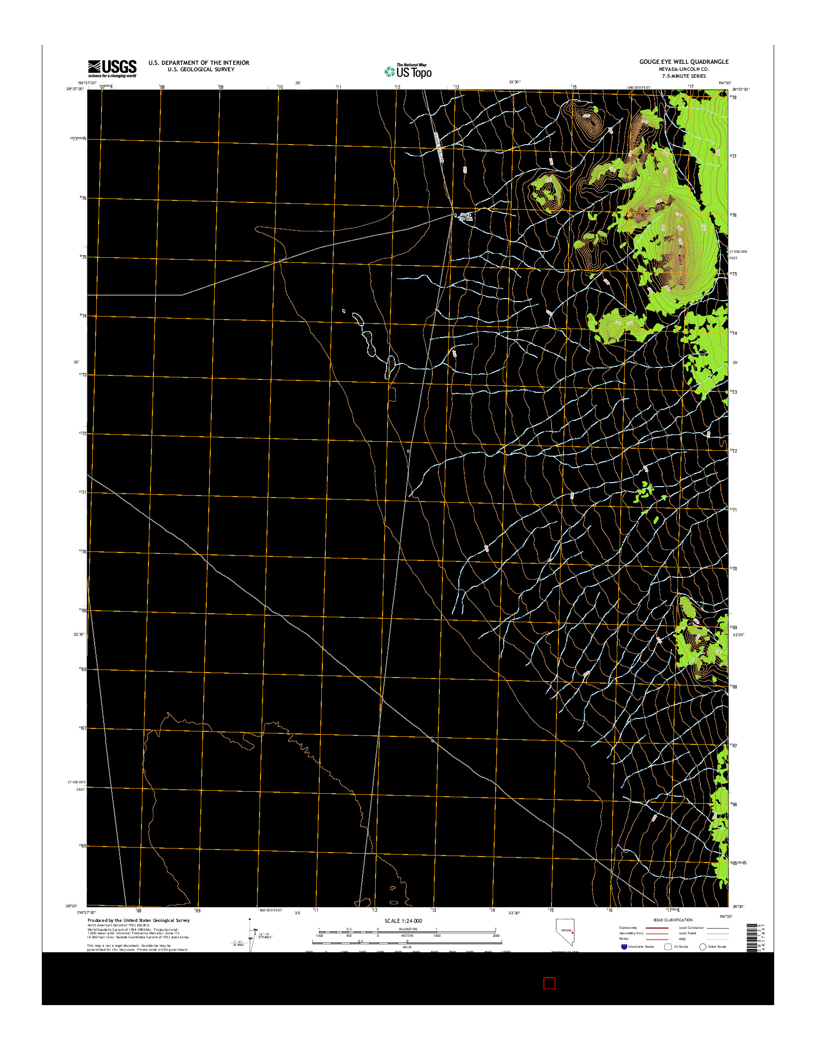 USGS US TOPO 7.5-MINUTE MAP FOR GOUGE EYE WELL, NV 2014