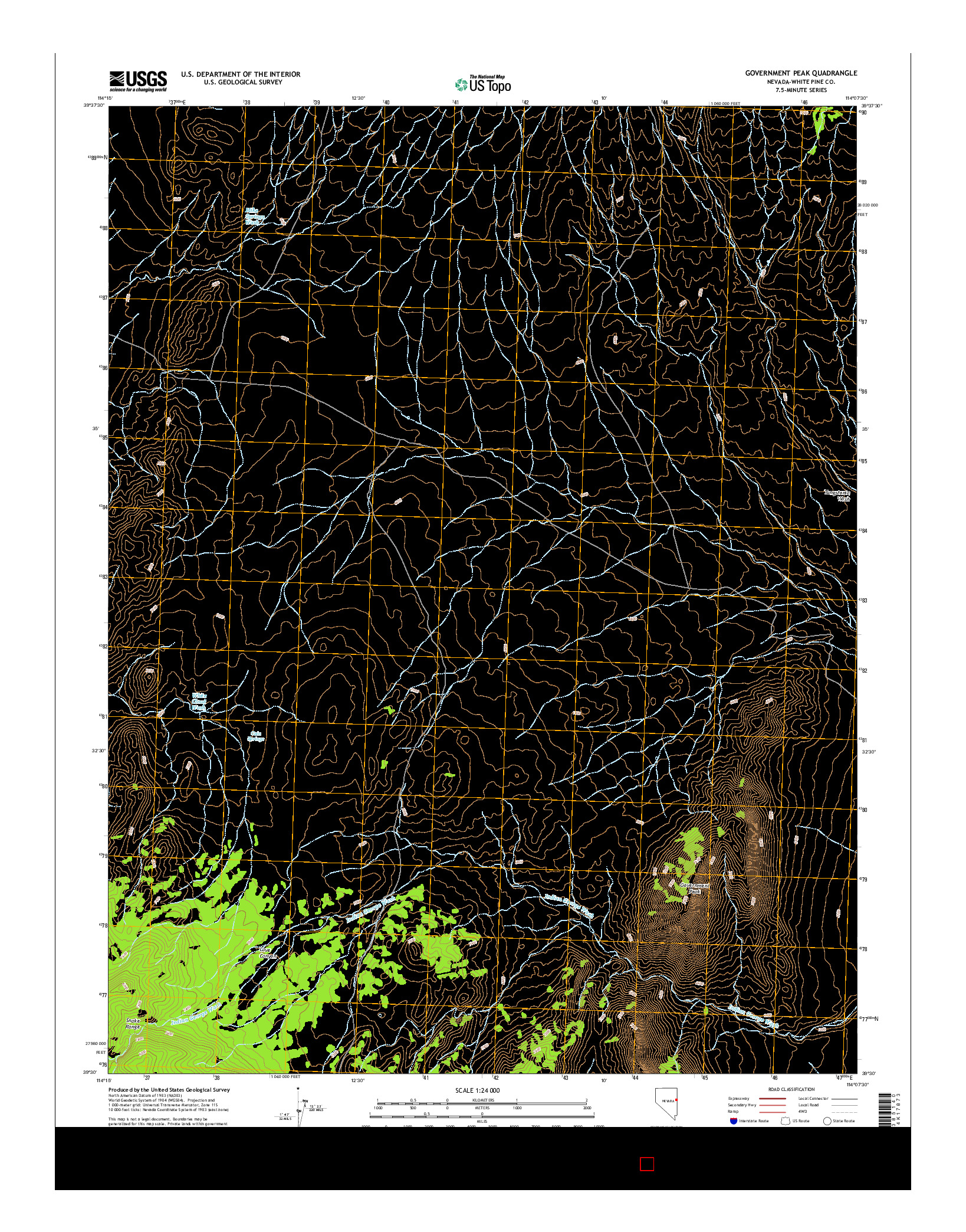 USGS US TOPO 7.5-MINUTE MAP FOR GOVERNMENT PEAK, NV 2014