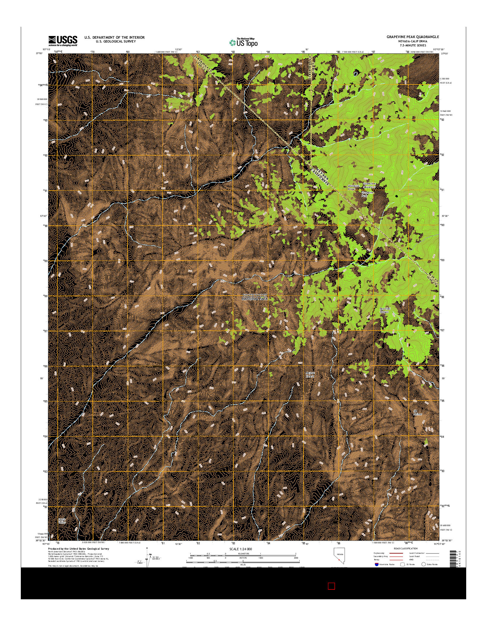 USGS US TOPO 7.5-MINUTE MAP FOR GRAPEVINE PEAK, NV-CA 2014