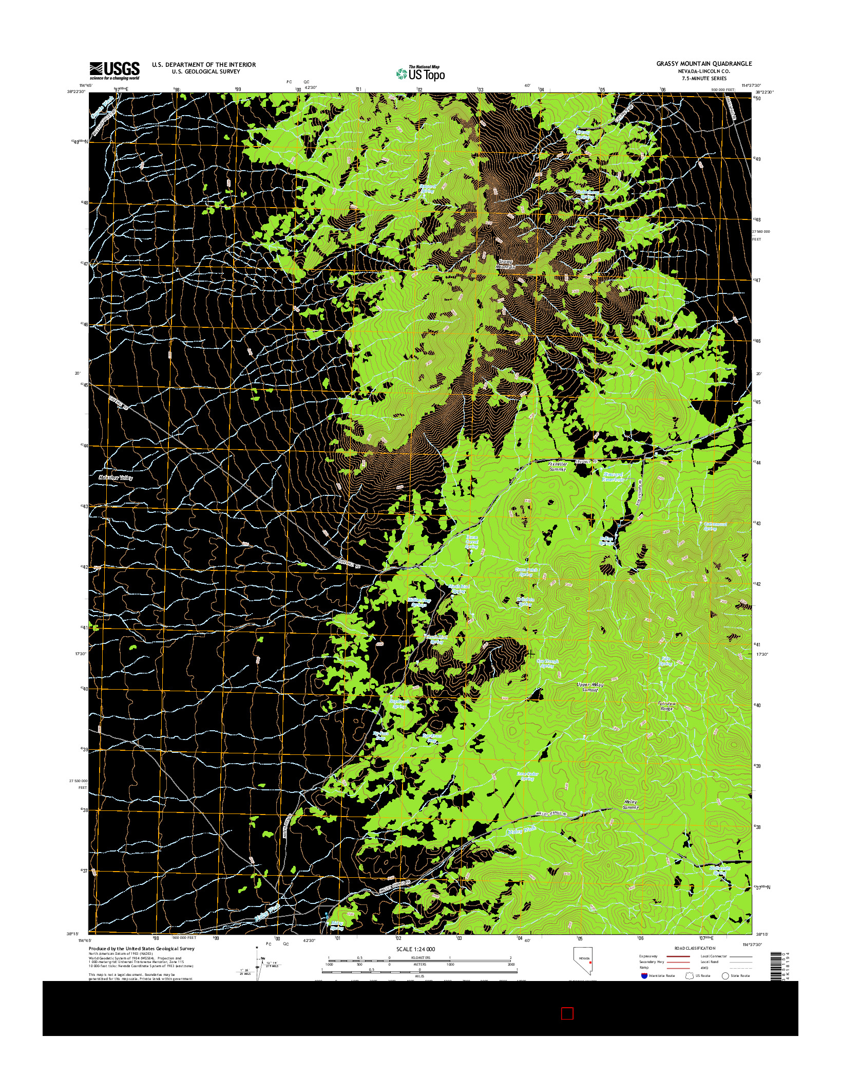 USGS US TOPO 7.5-MINUTE MAP FOR GRASSY MOUNTAIN, NV 2014