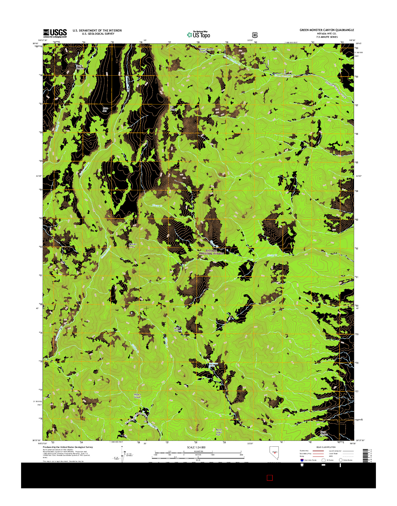 USGS US TOPO 7.5-MINUTE MAP FOR GREEN MONSTER CANYON, NV 2014