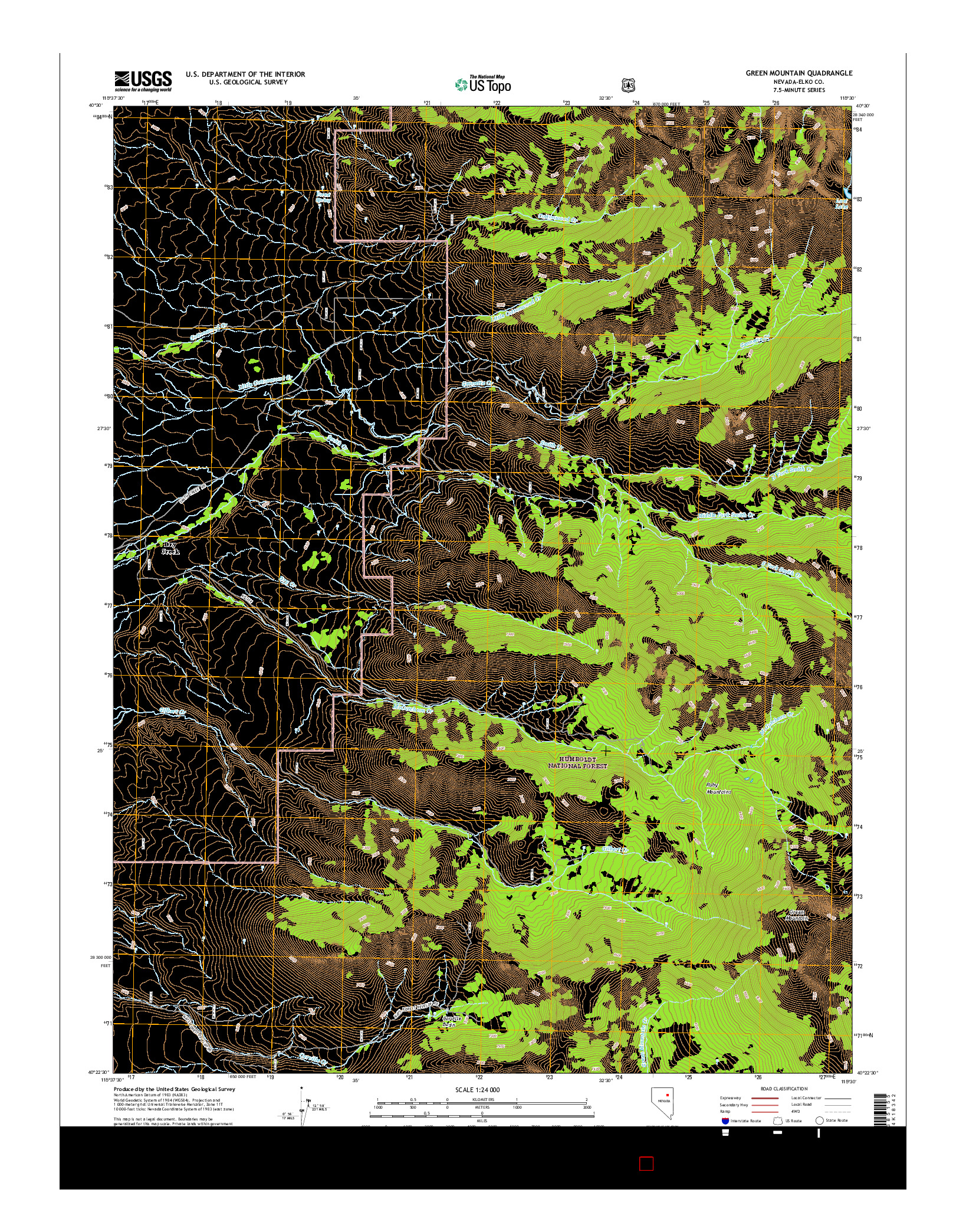 USGS US TOPO 7.5-MINUTE MAP FOR GREEN MOUNTAIN, NV 2014
