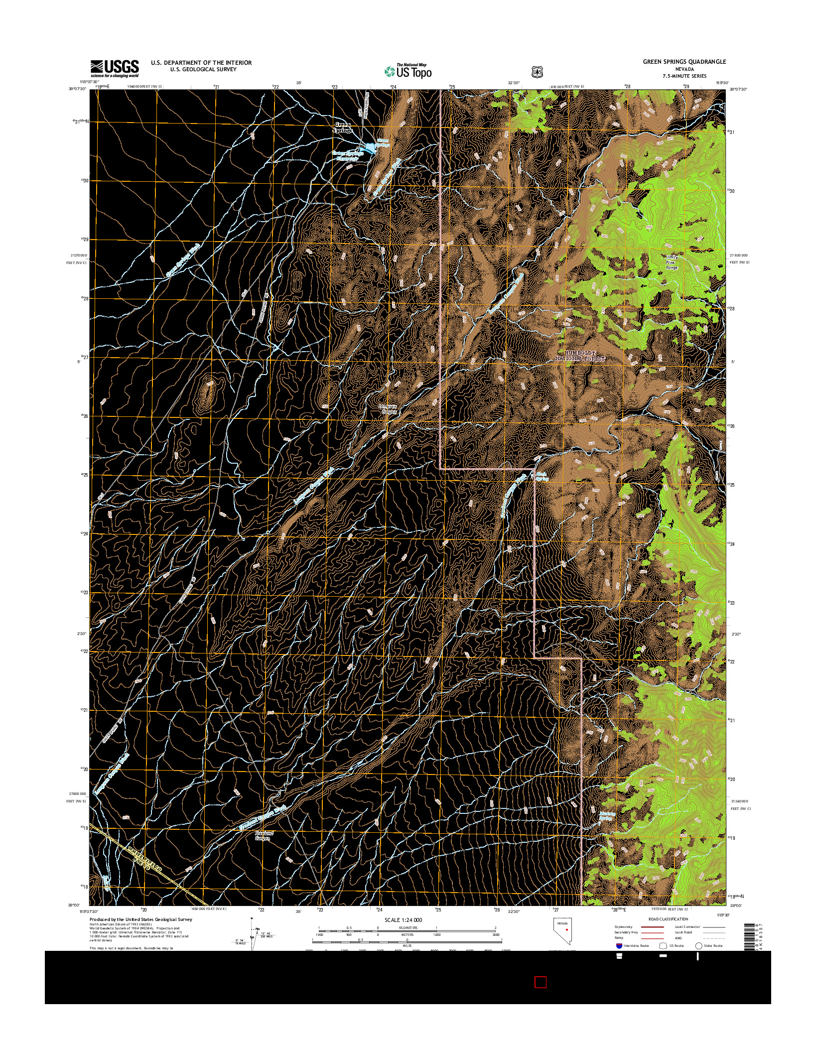 USGS US TOPO 7.5-MINUTE MAP FOR GREEN SPRINGS, NV 2014