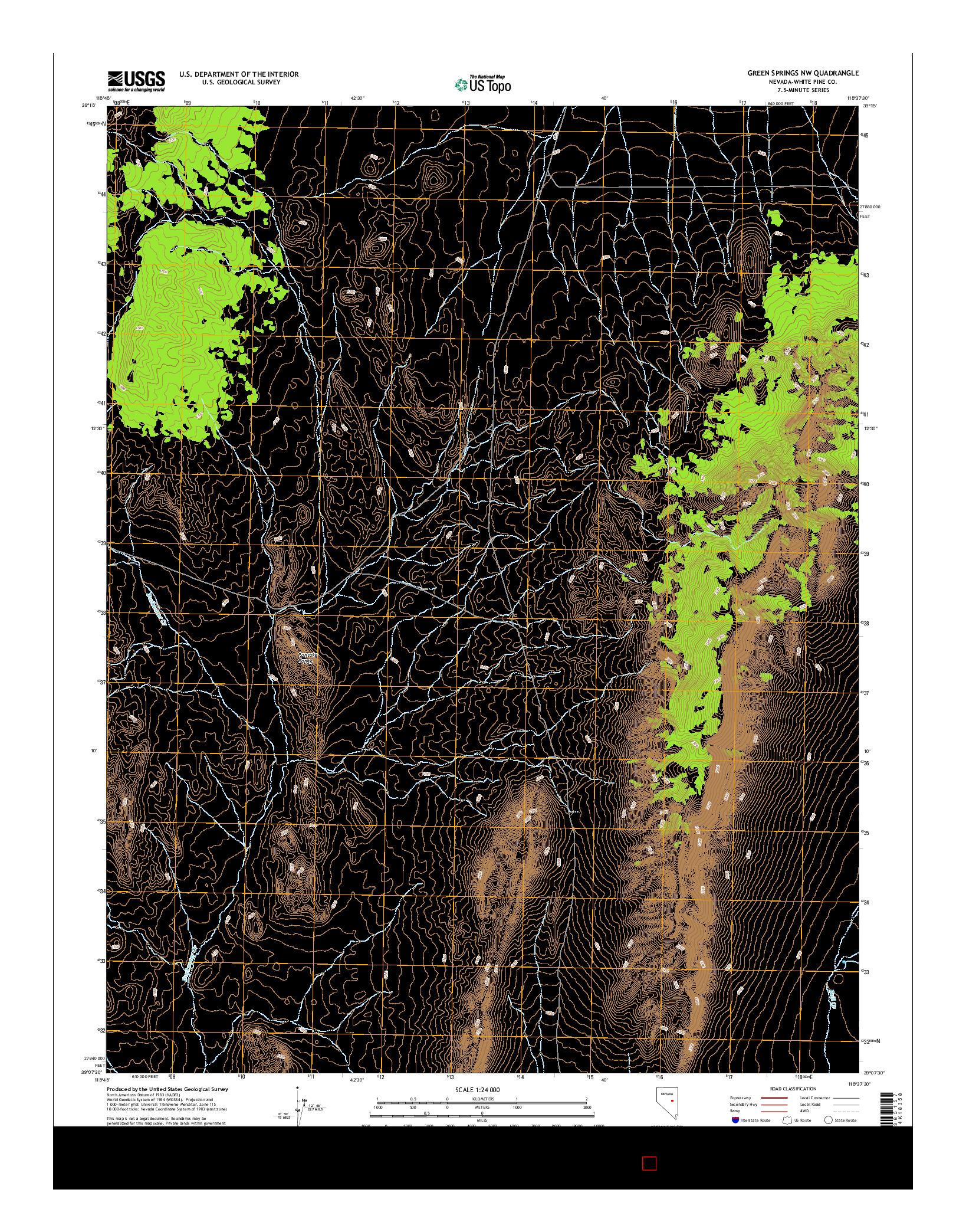 USGS US TOPO 7.5-MINUTE MAP FOR GREEN SPRINGS NW, NV 2014