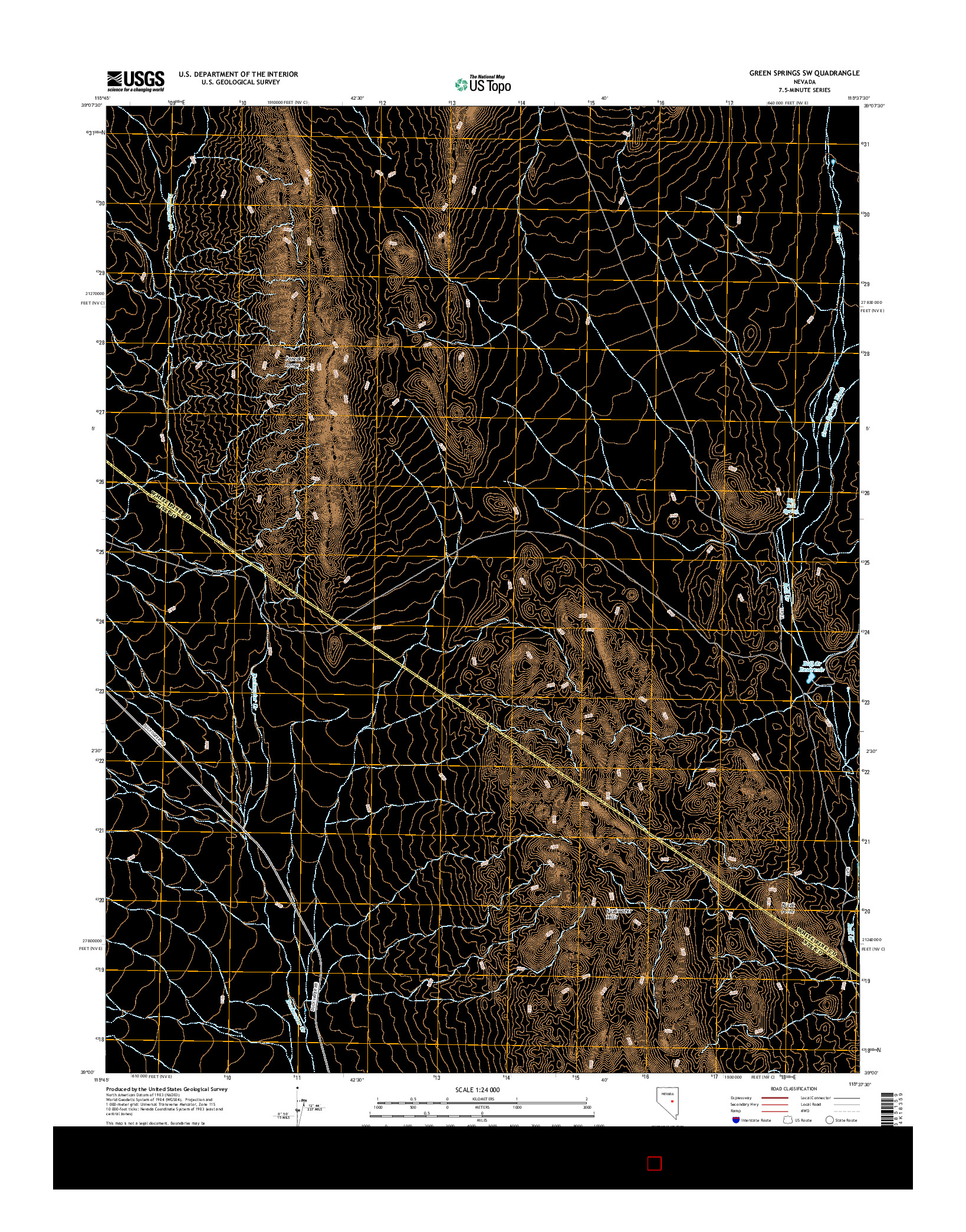 USGS US TOPO 7.5-MINUTE MAP FOR GREEN SPRINGS SW, NV 2014