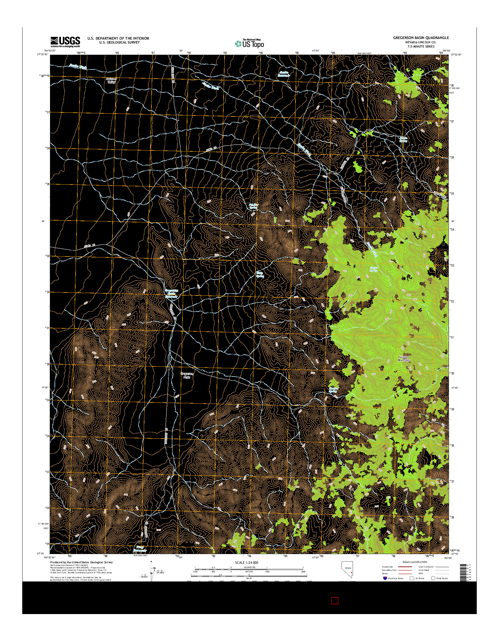 USGS US TOPO 7.5-MINUTE MAP FOR GREGERSON BASIN, NV 2014
