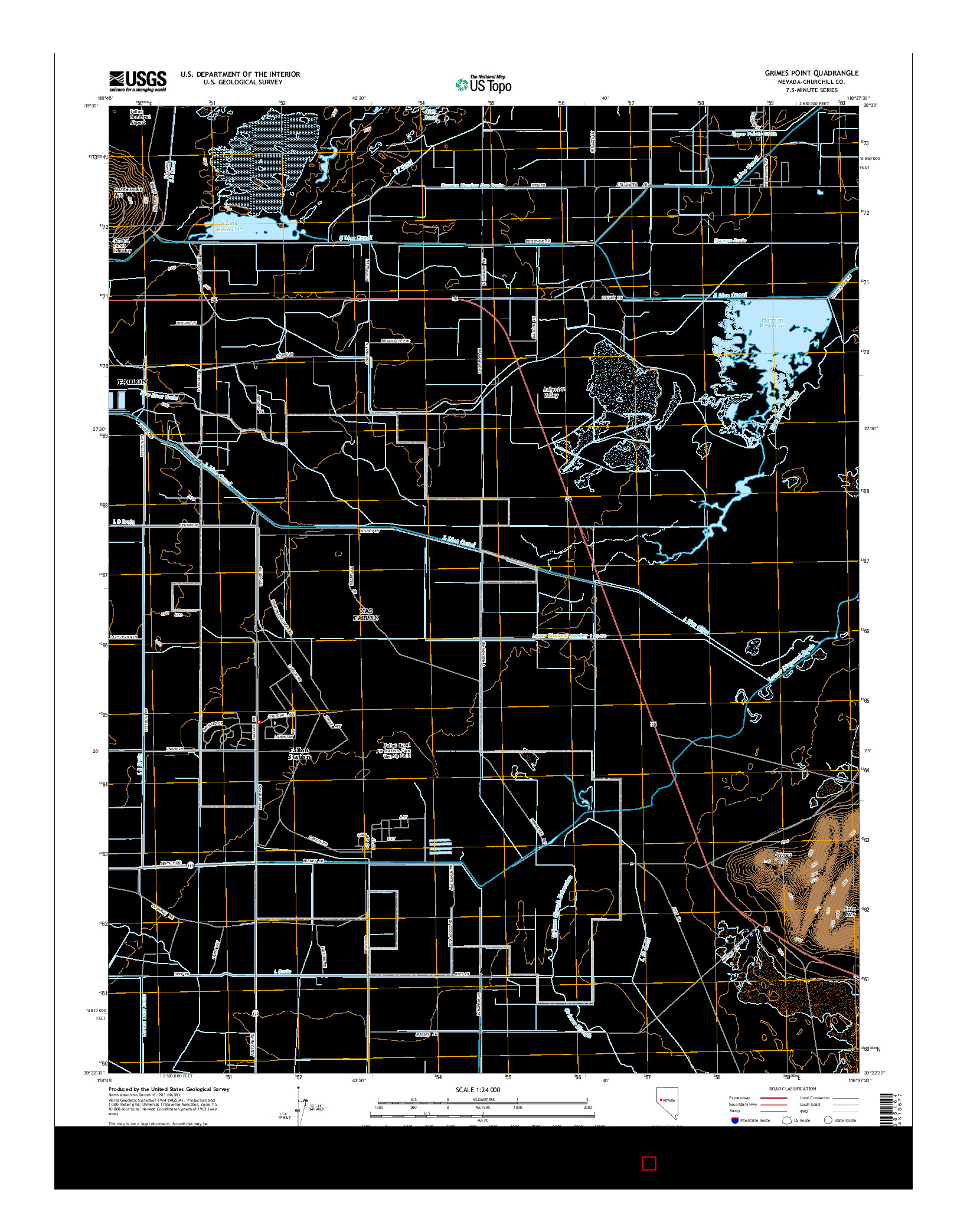 USGS US TOPO 7.5-MINUTE MAP FOR GRIMES POINT, NV 2014