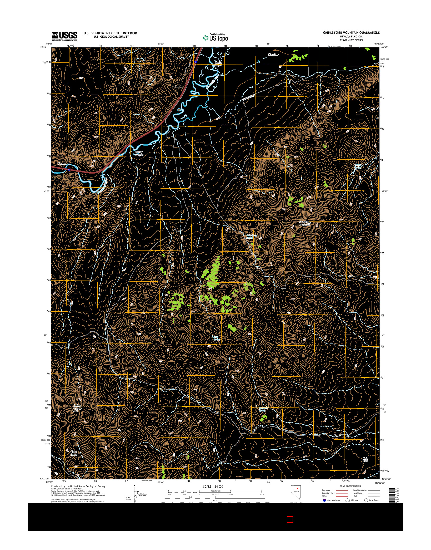 USGS US TOPO 7.5-MINUTE MAP FOR GRINDSTONE MOUNTAIN, NV 2014