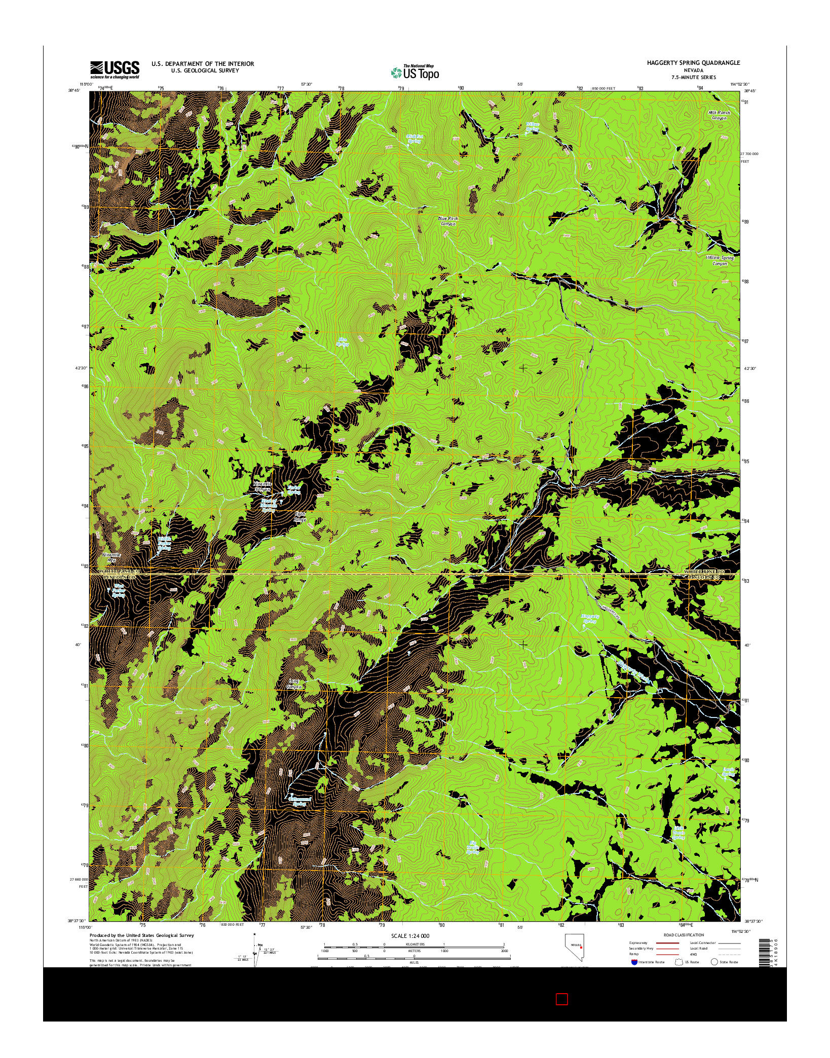 USGS US TOPO 7.5-MINUTE MAP FOR HAGGERTY SPRING, NV 2014