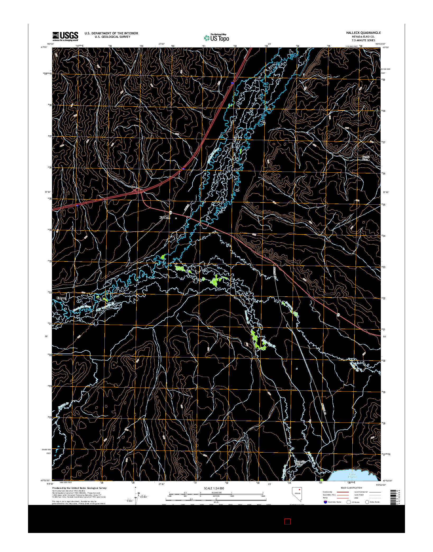 USGS US TOPO 7.5-MINUTE MAP FOR HALLECK, NV 2014