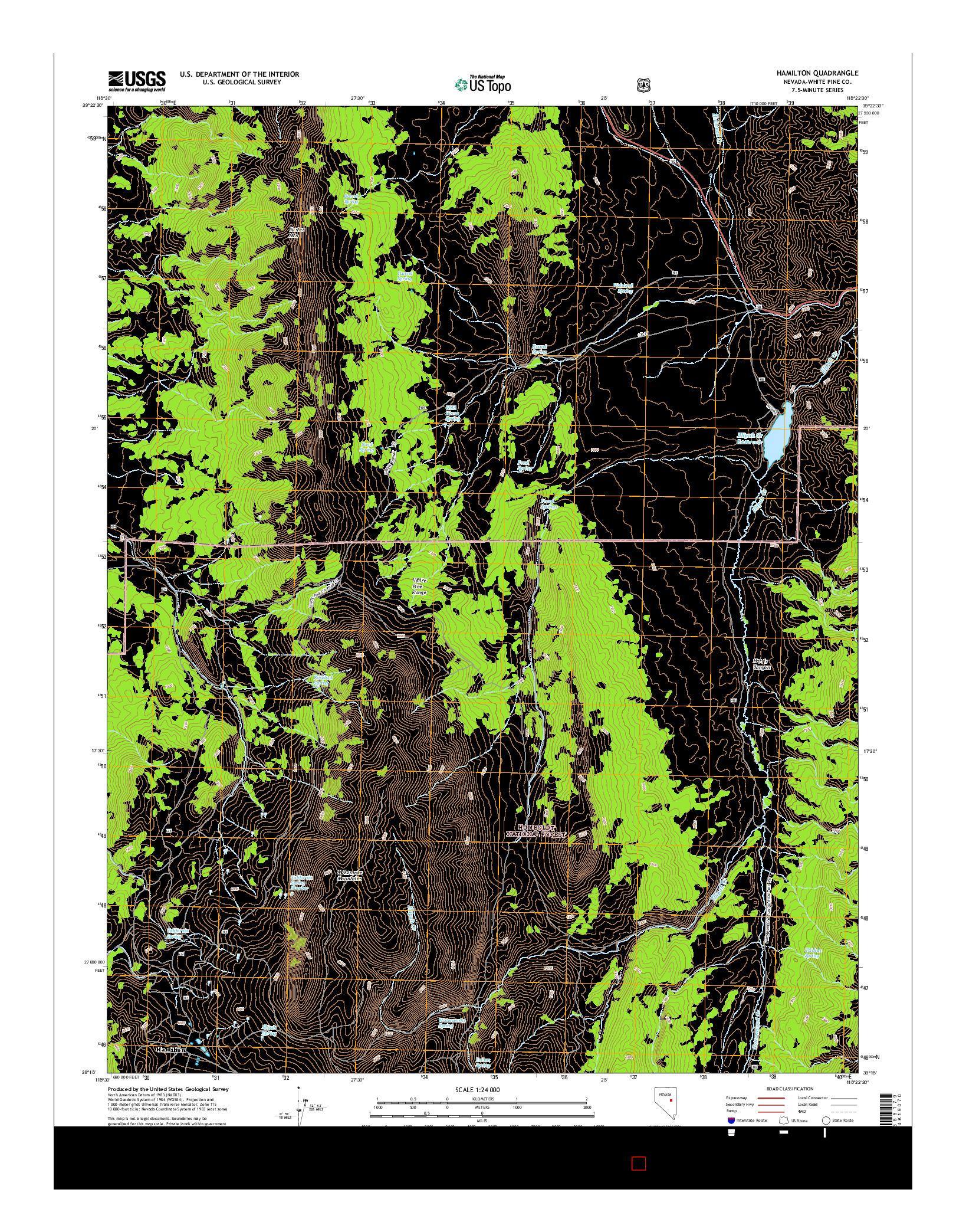 USGS US TOPO 7.5-MINUTE MAP FOR HAMILTON, NV 2014