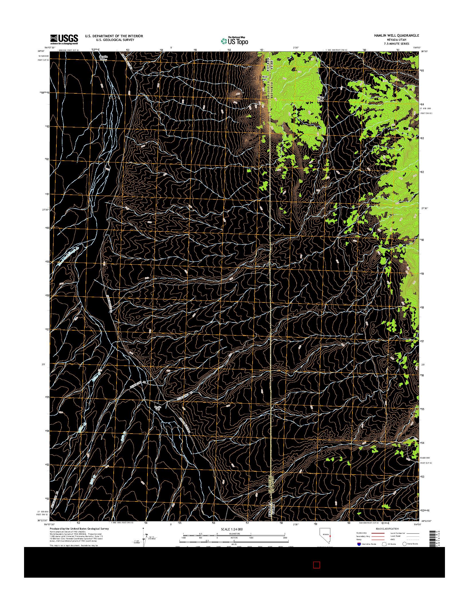 USGS US TOPO 7.5-MINUTE MAP FOR HAMLIN WELL, NV-UT 2014
