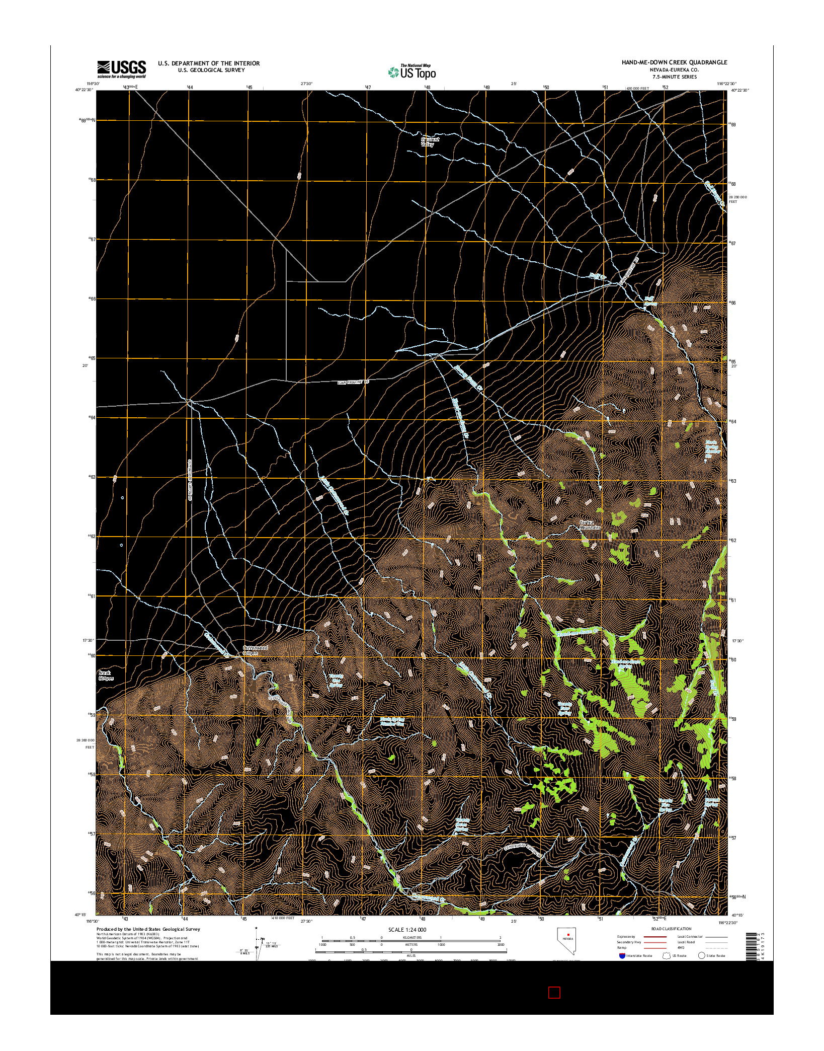 USGS US TOPO 7.5-MINUTE MAP FOR HAND-ME-DOWN CREEK, NV 2014