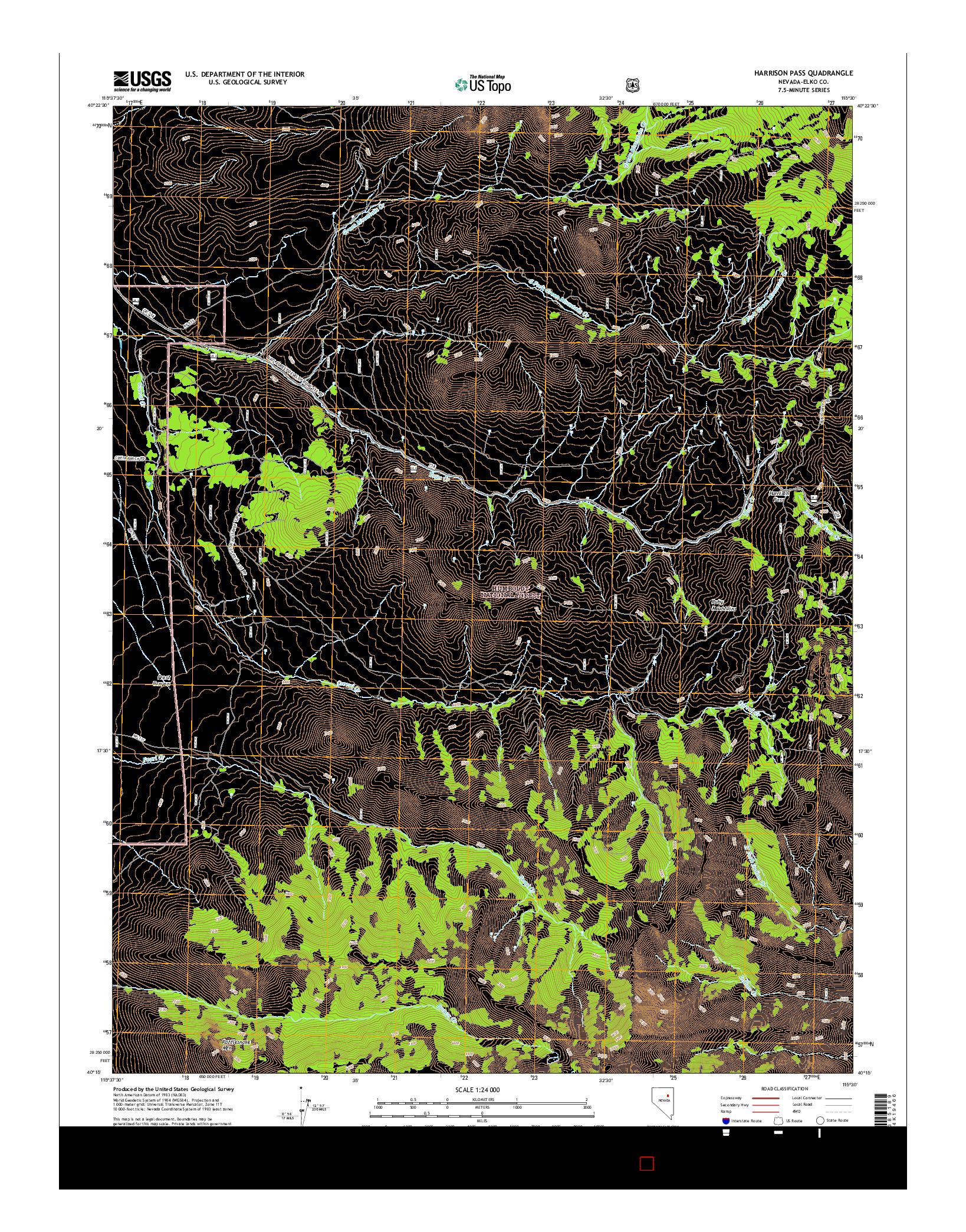 USGS US TOPO 7.5-MINUTE MAP FOR HARRISON PASS, NV 2014