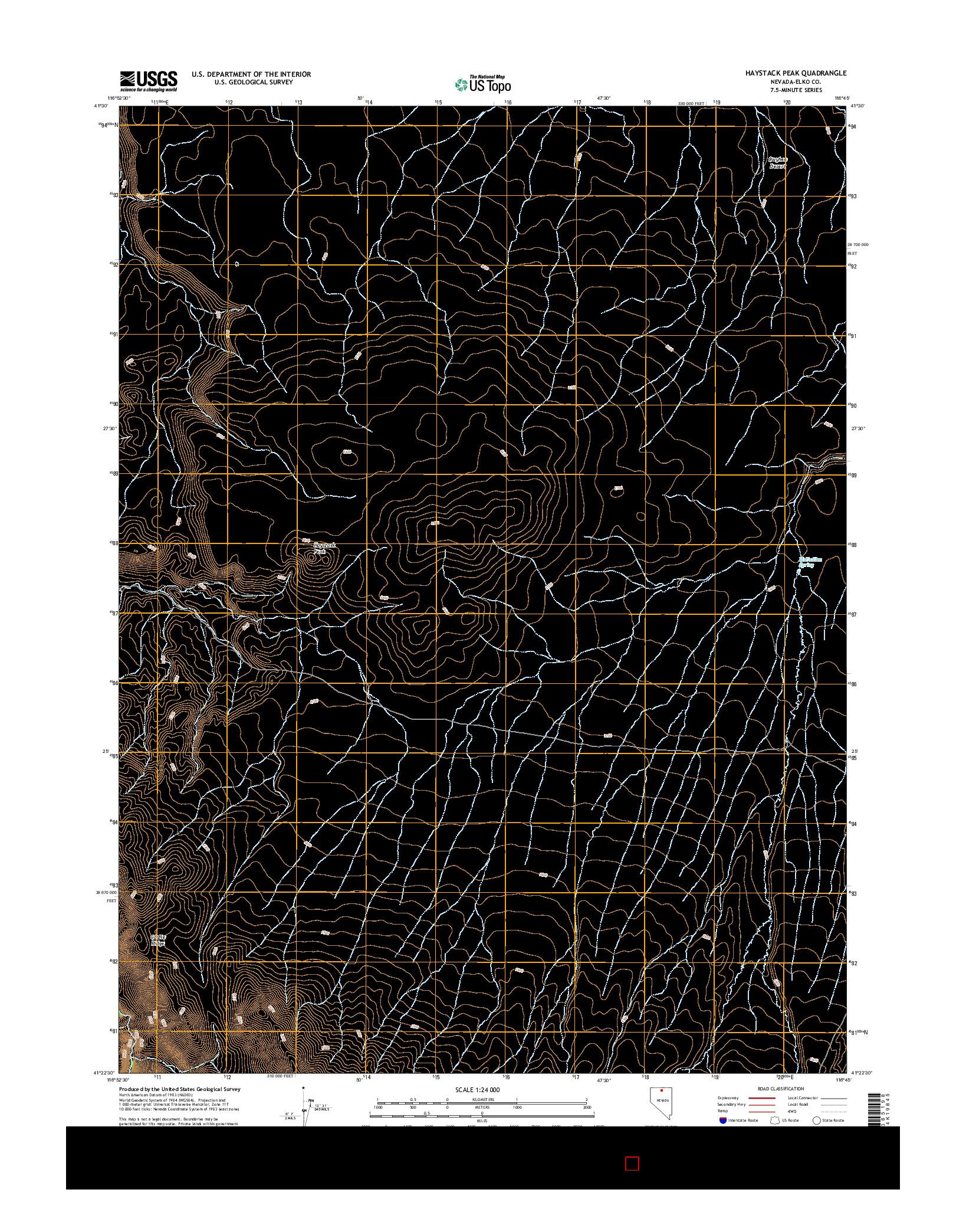 USGS US TOPO 7.5-MINUTE MAP FOR HAYSTACK PEAK, NV 2014