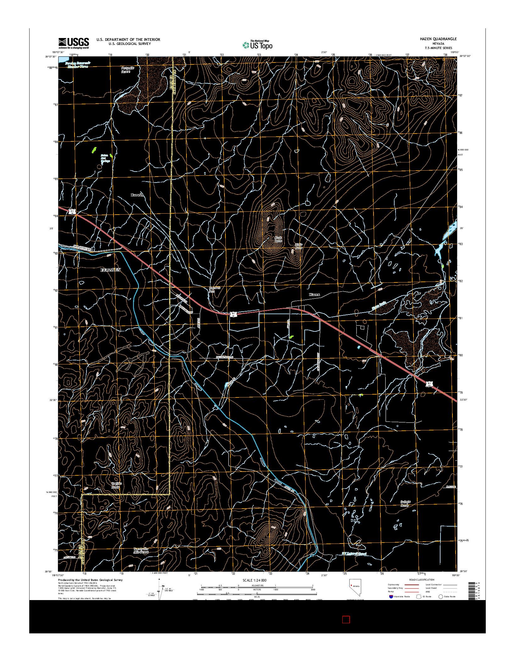 USGS US TOPO 7.5-MINUTE MAP FOR HAZEN, NV 2014