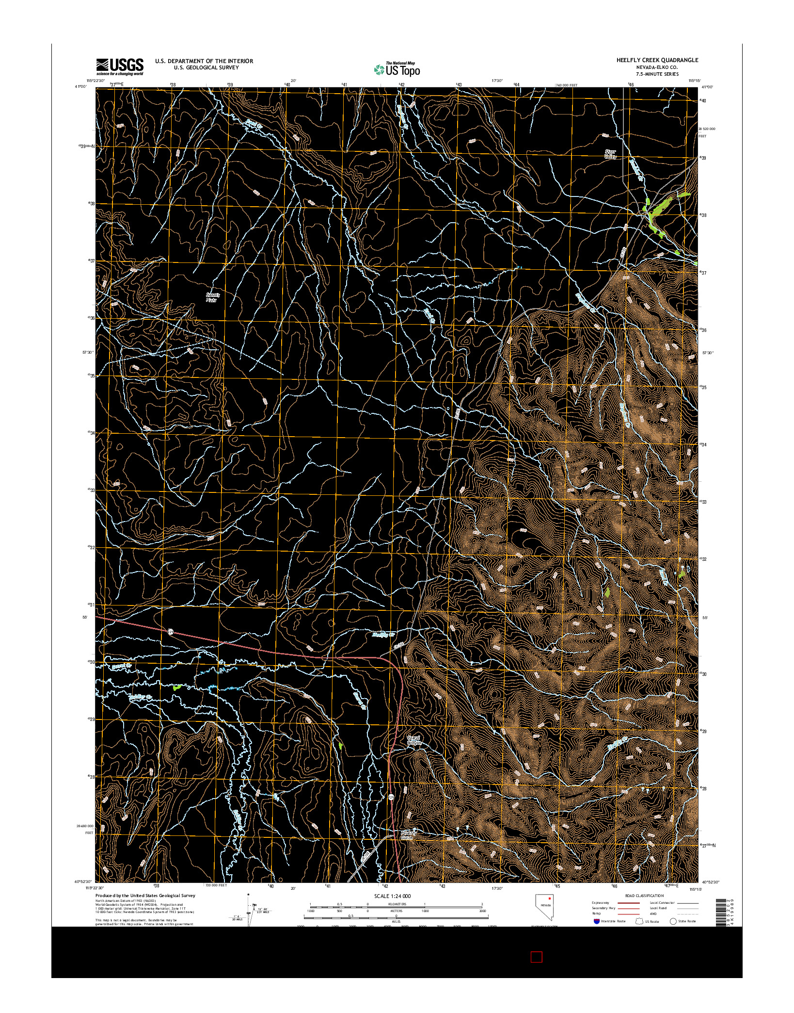 USGS US TOPO 7.5-MINUTE MAP FOR HEELFLY CREEK, NV 2014