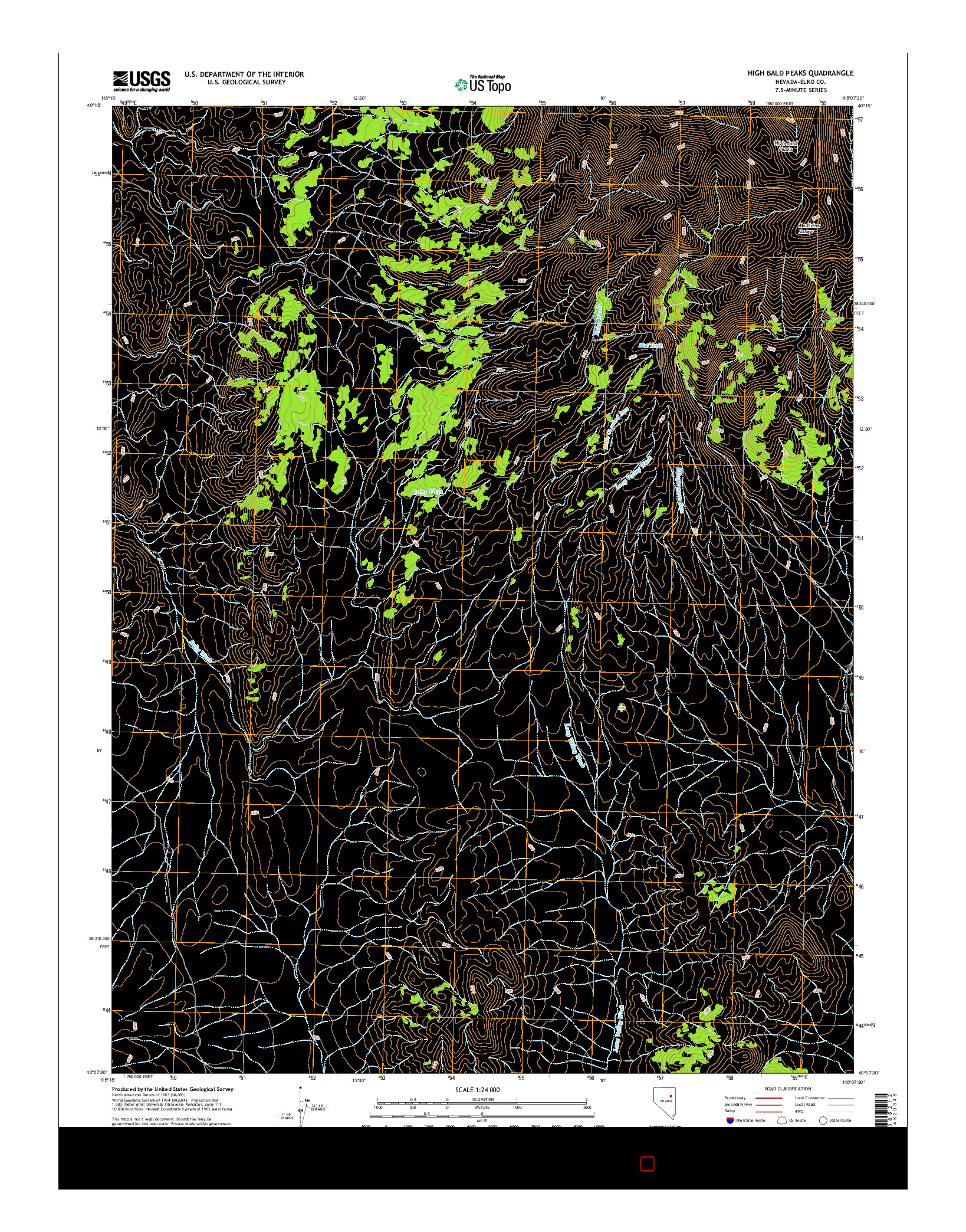 USGS US TOPO 7.5-MINUTE MAP FOR HIGH BALD PEAKS, NV 2014