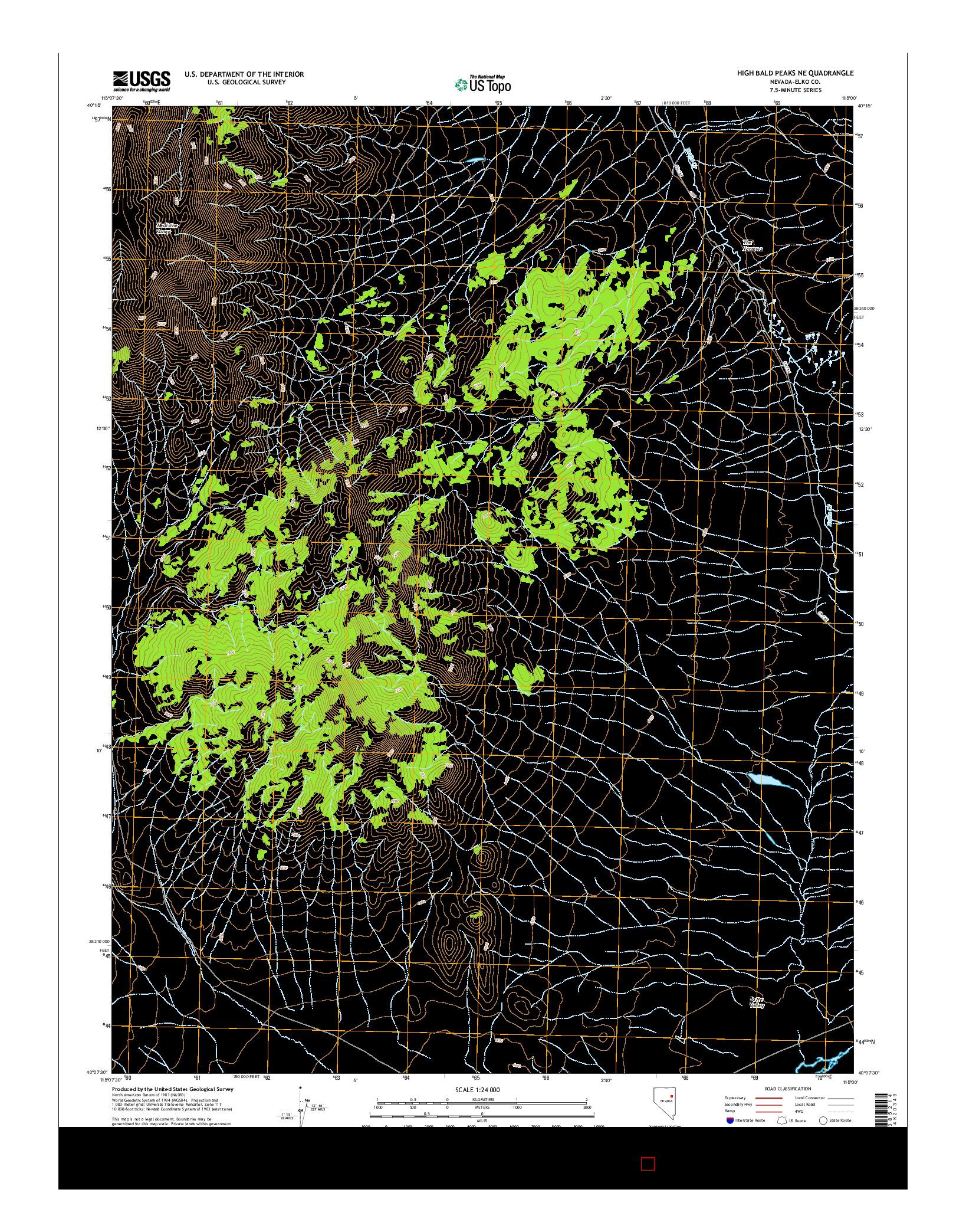 USGS US TOPO 7.5-MINUTE MAP FOR HIGH BALD PEAKS NE, NV 2014