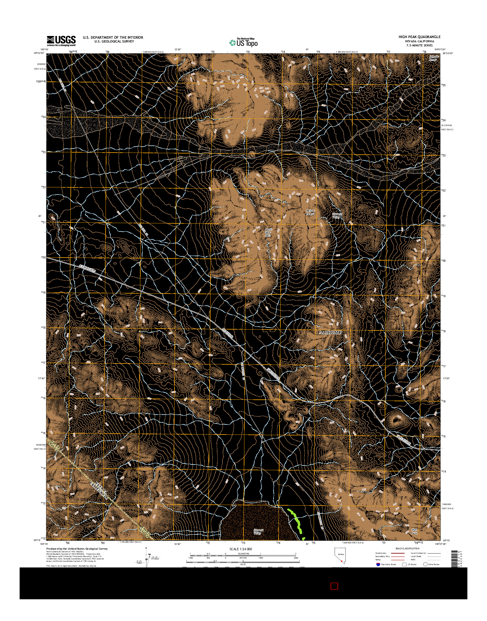 USGS US TOPO 7.5-MINUTE MAP FOR HIGH PEAK, NV-CA 2014