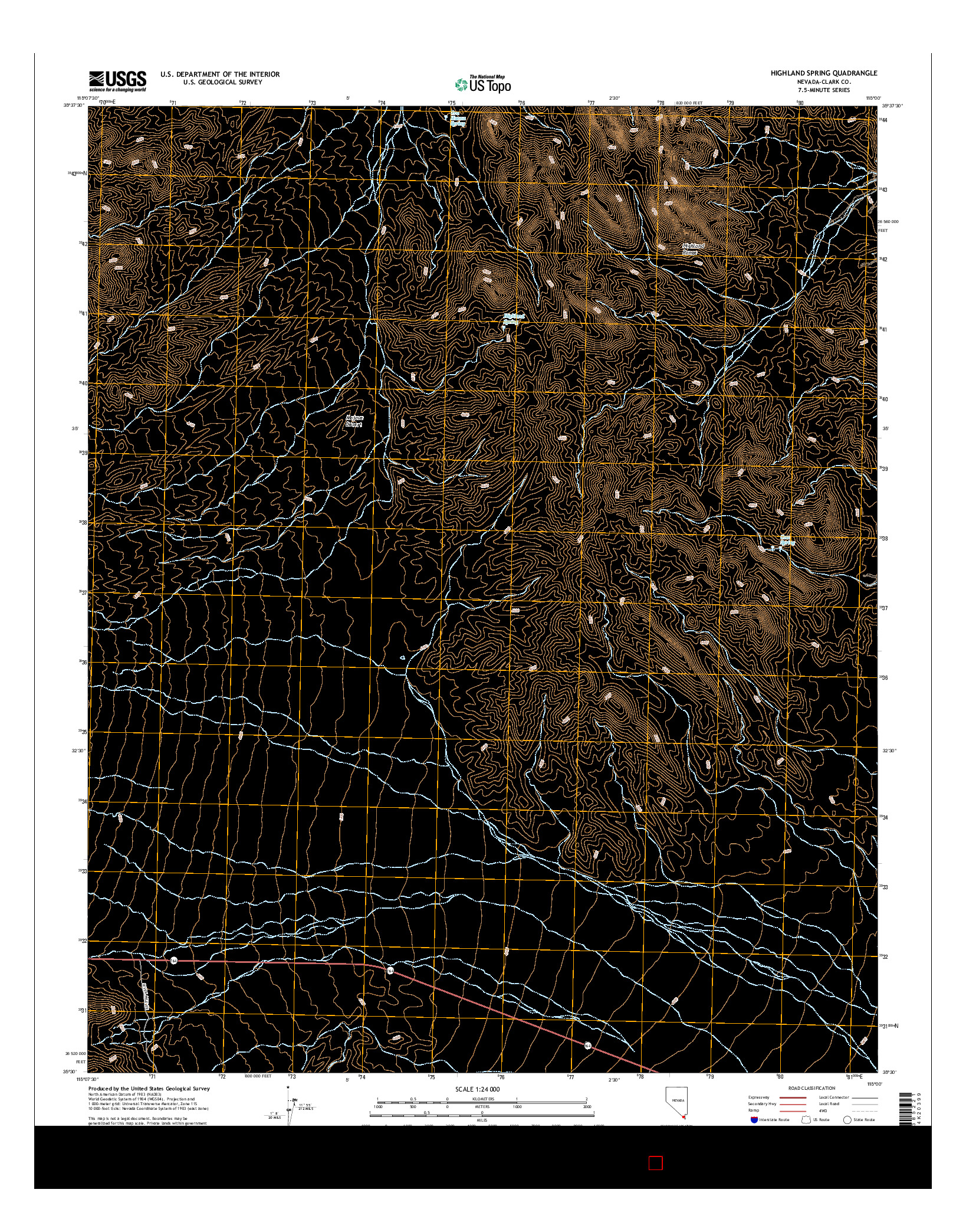 USGS US TOPO 7.5-MINUTE MAP FOR HIGHLAND SPRING, NV 2014