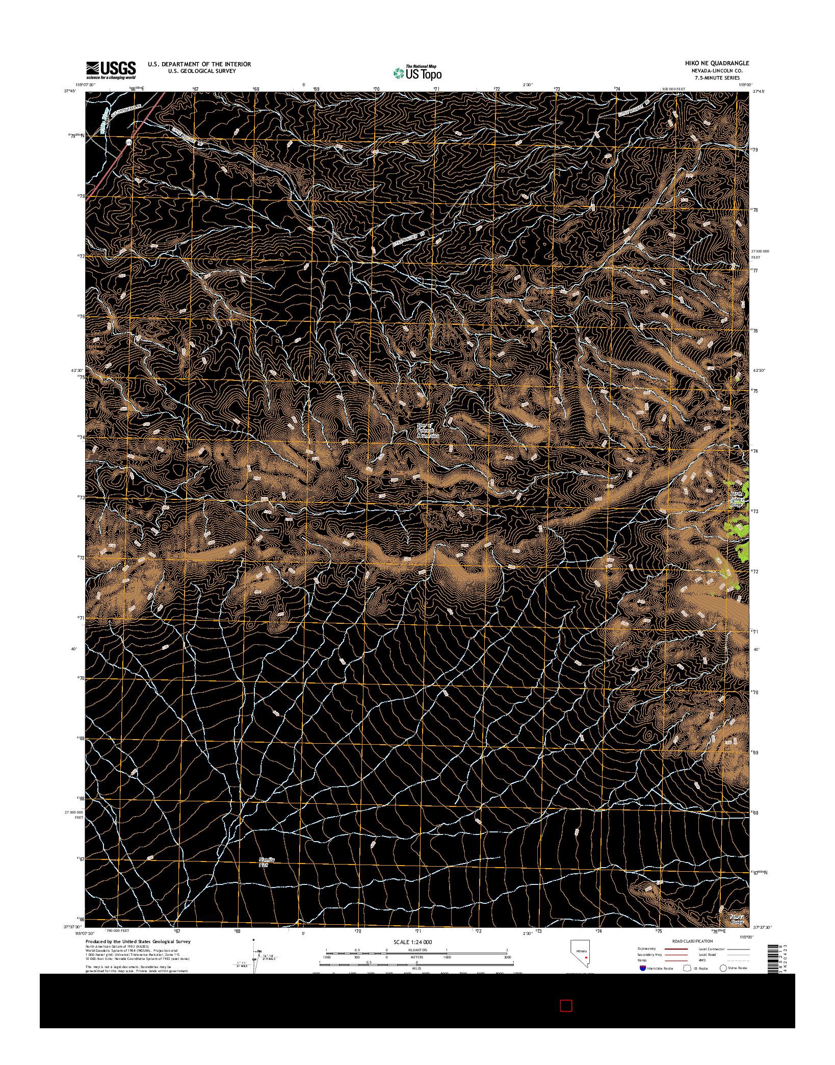USGS US TOPO 7.5-MINUTE MAP FOR HIKO NE, NV 2014