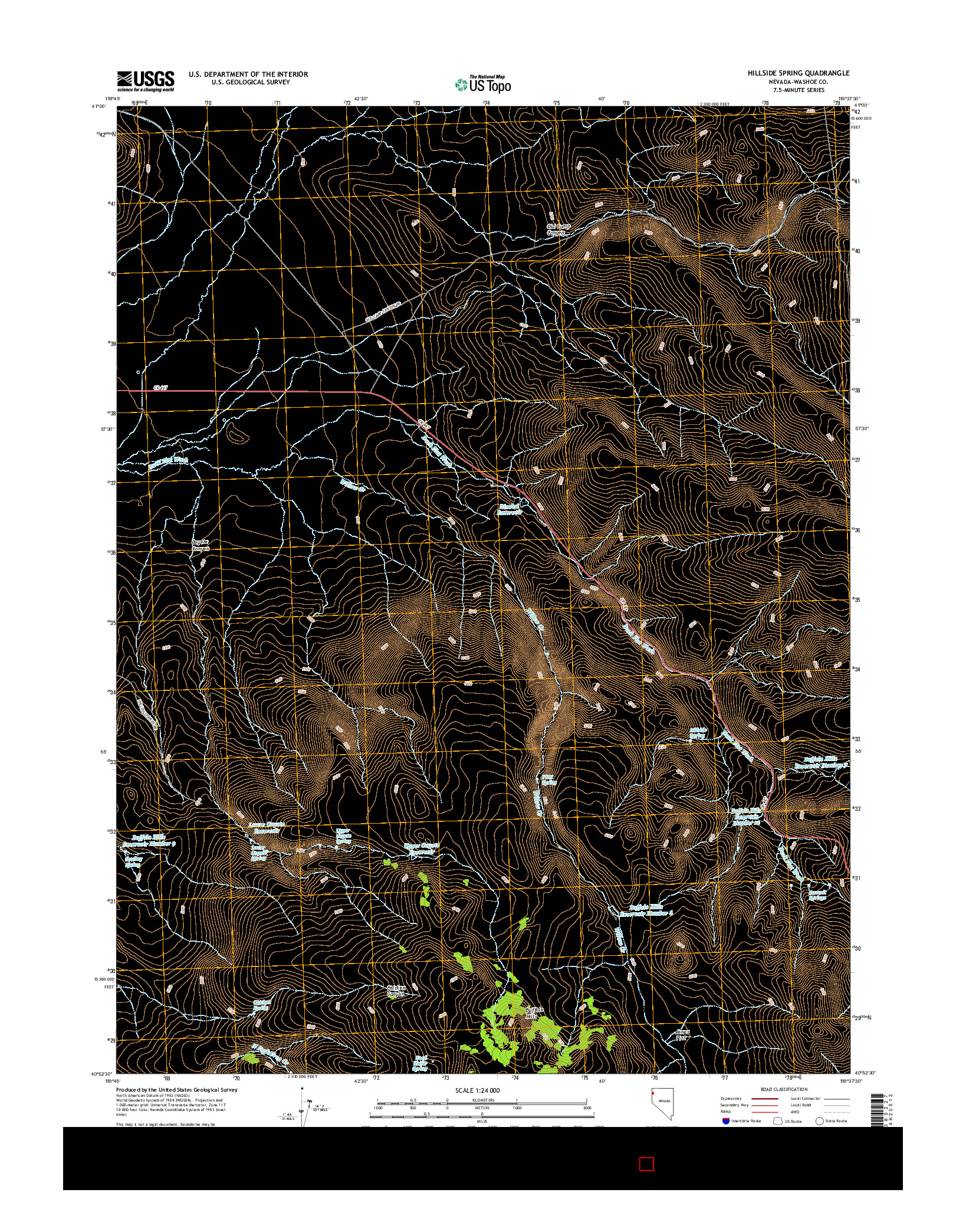 USGS US TOPO 7.5-MINUTE MAP FOR HILLSIDE SPRING, NV 2014