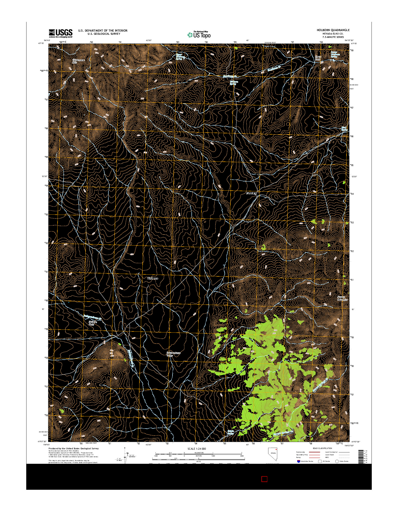 USGS US TOPO 7.5-MINUTE MAP FOR HOLBORN, NV 2014