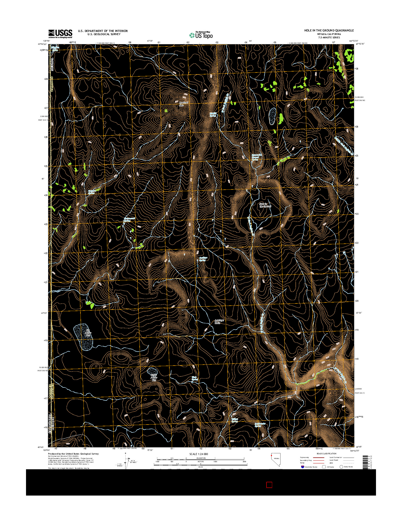 USGS US TOPO 7.5-MINUTE MAP FOR HOLE IN THE GROUND, NV-CA 2014