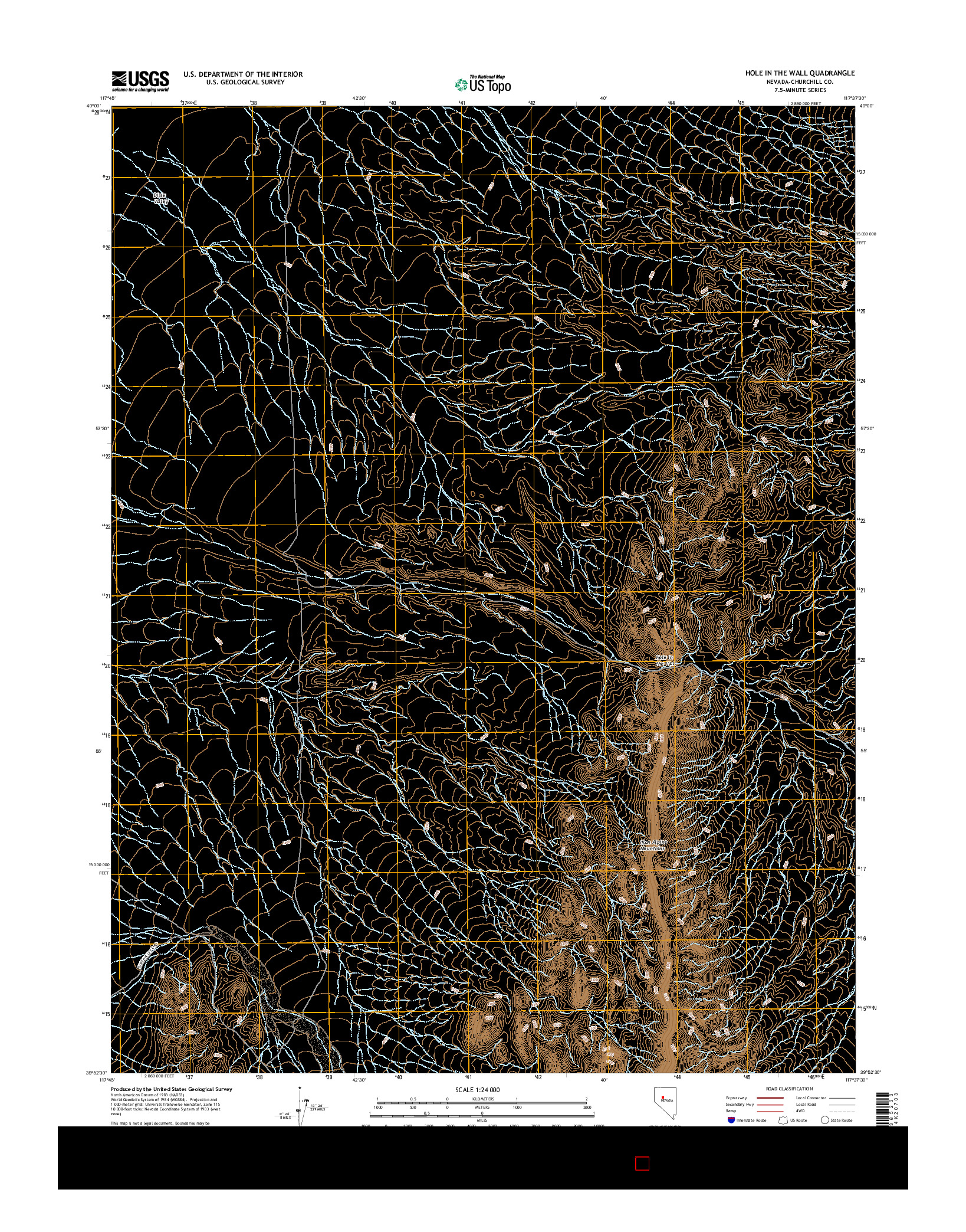 USGS US TOPO 7.5-MINUTE MAP FOR HOLE IN THE WALL, NV 2014