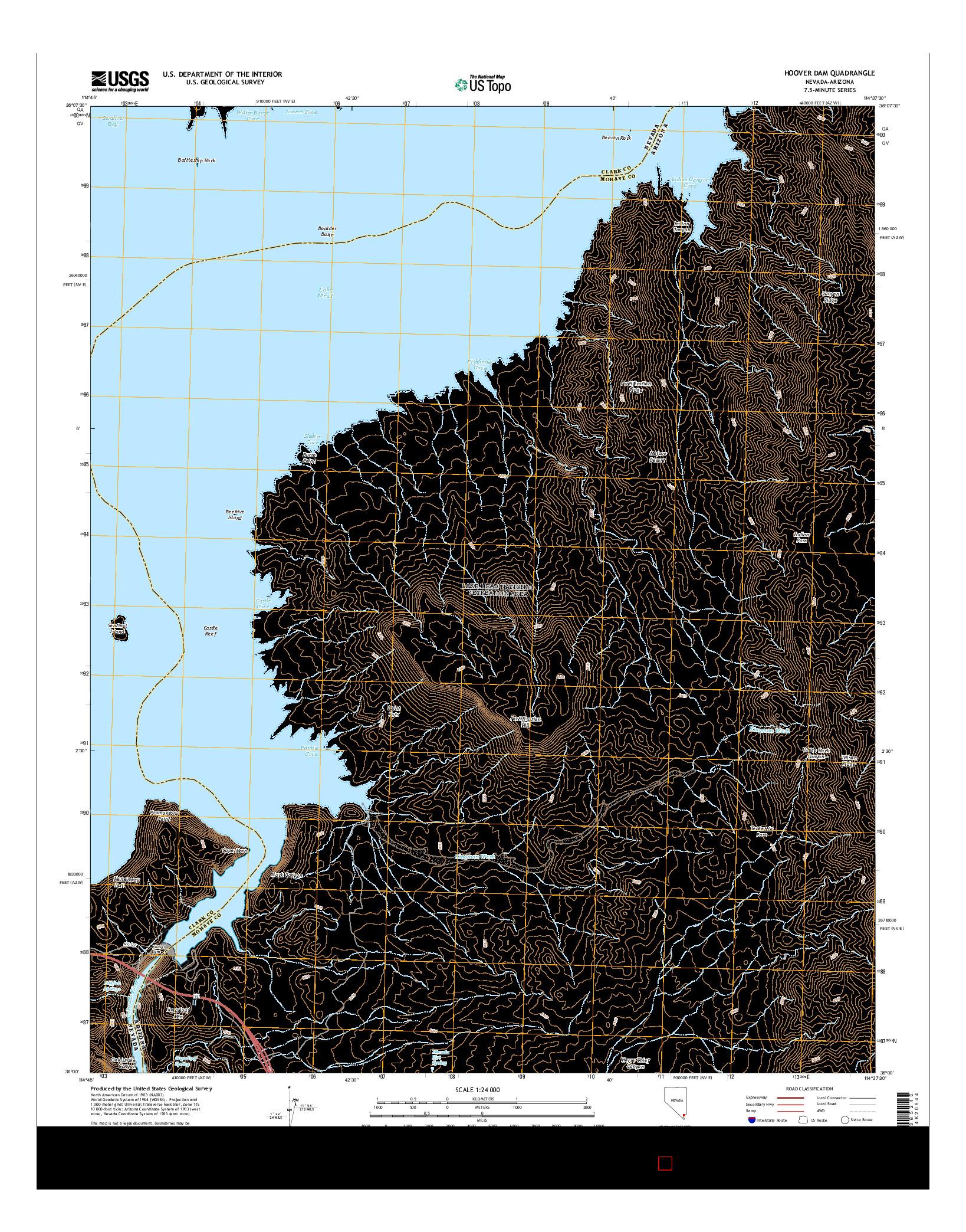 USGS US TOPO 7.5-MINUTE MAP FOR HOOVER DAM, NV-AZ 2014