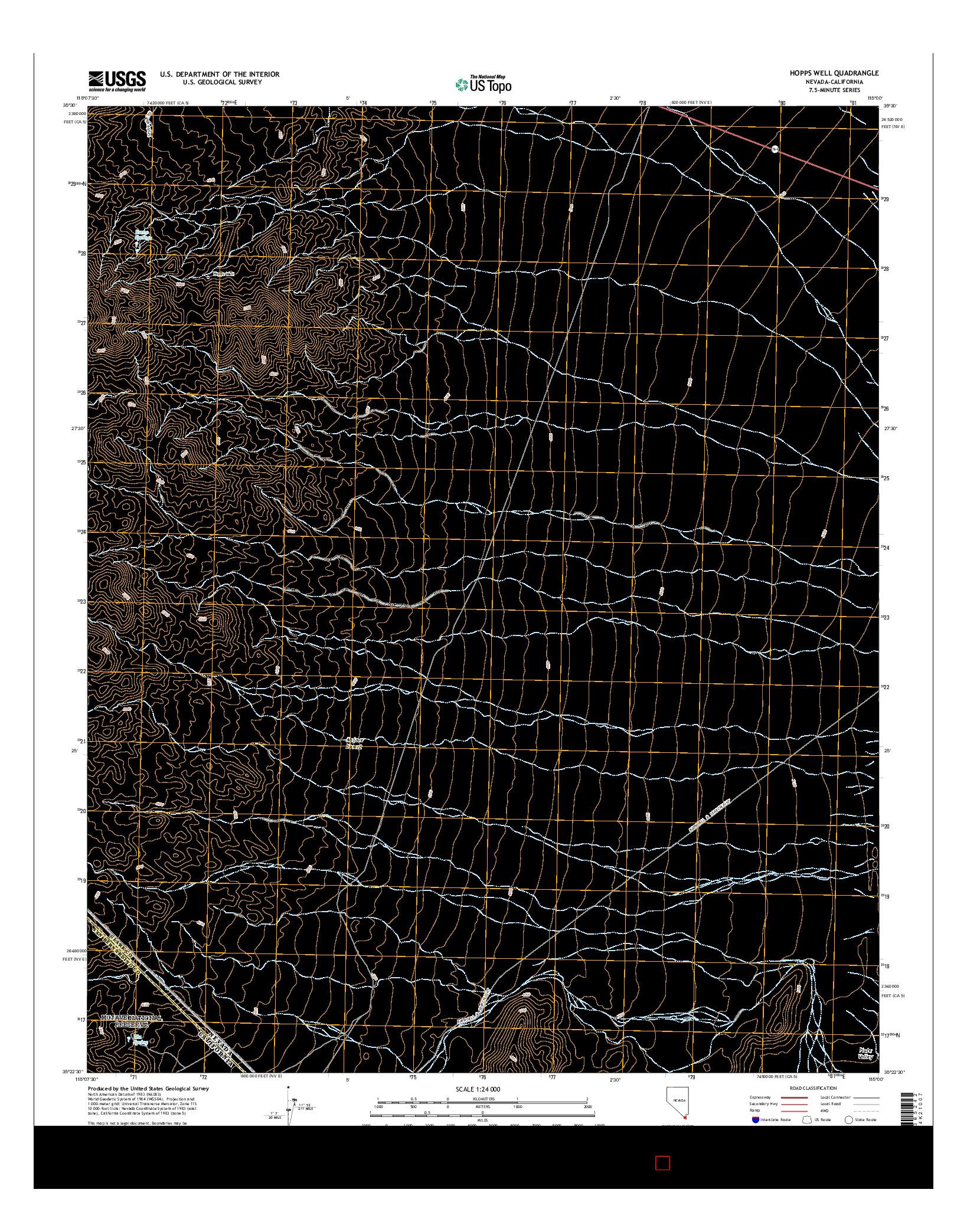 USGS US TOPO 7.5-MINUTE MAP FOR HOPPS WELL, NV-CA 2014