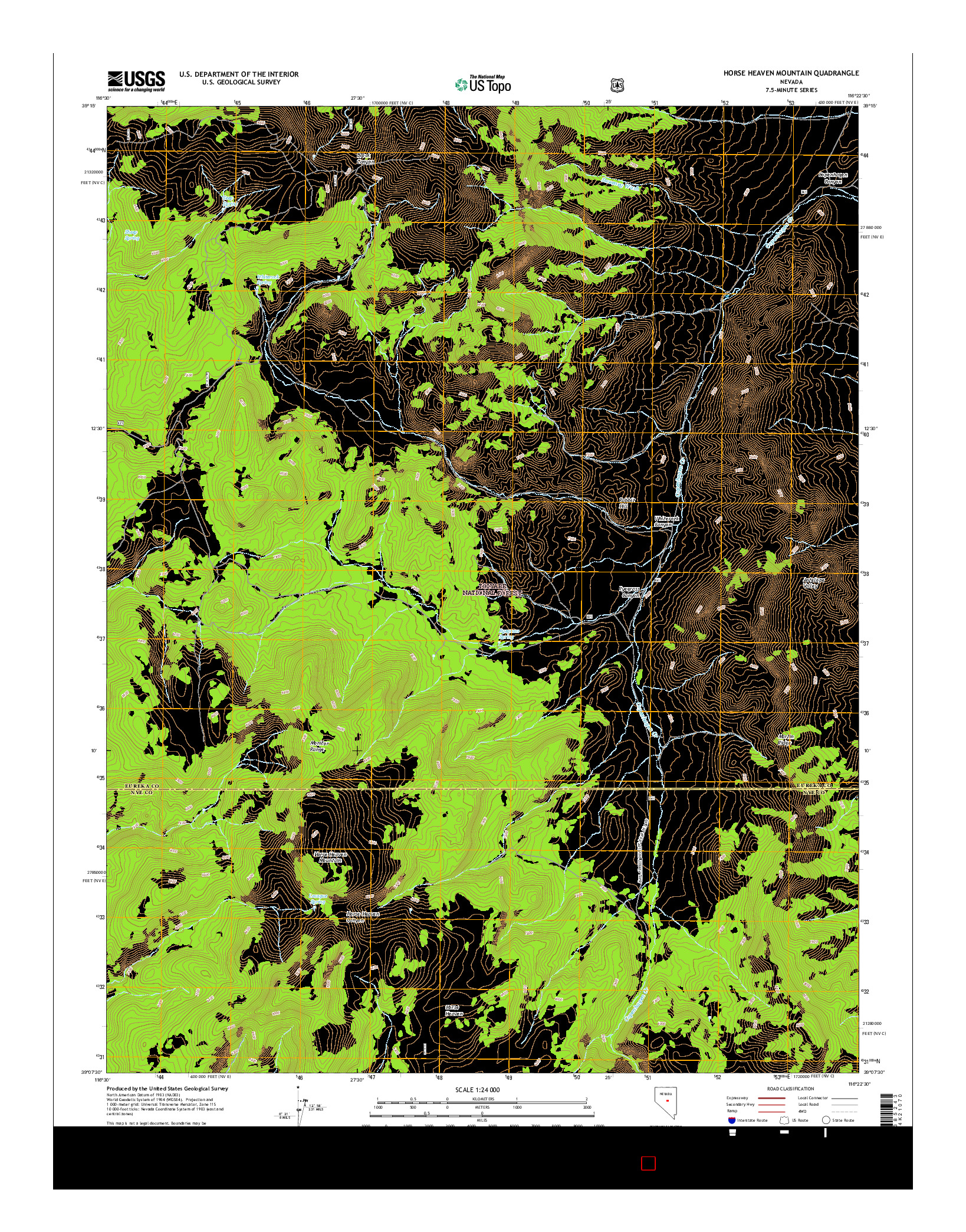 USGS US TOPO 7.5-MINUTE MAP FOR HORSE HEAVEN MOUNTAIN, NV 2014