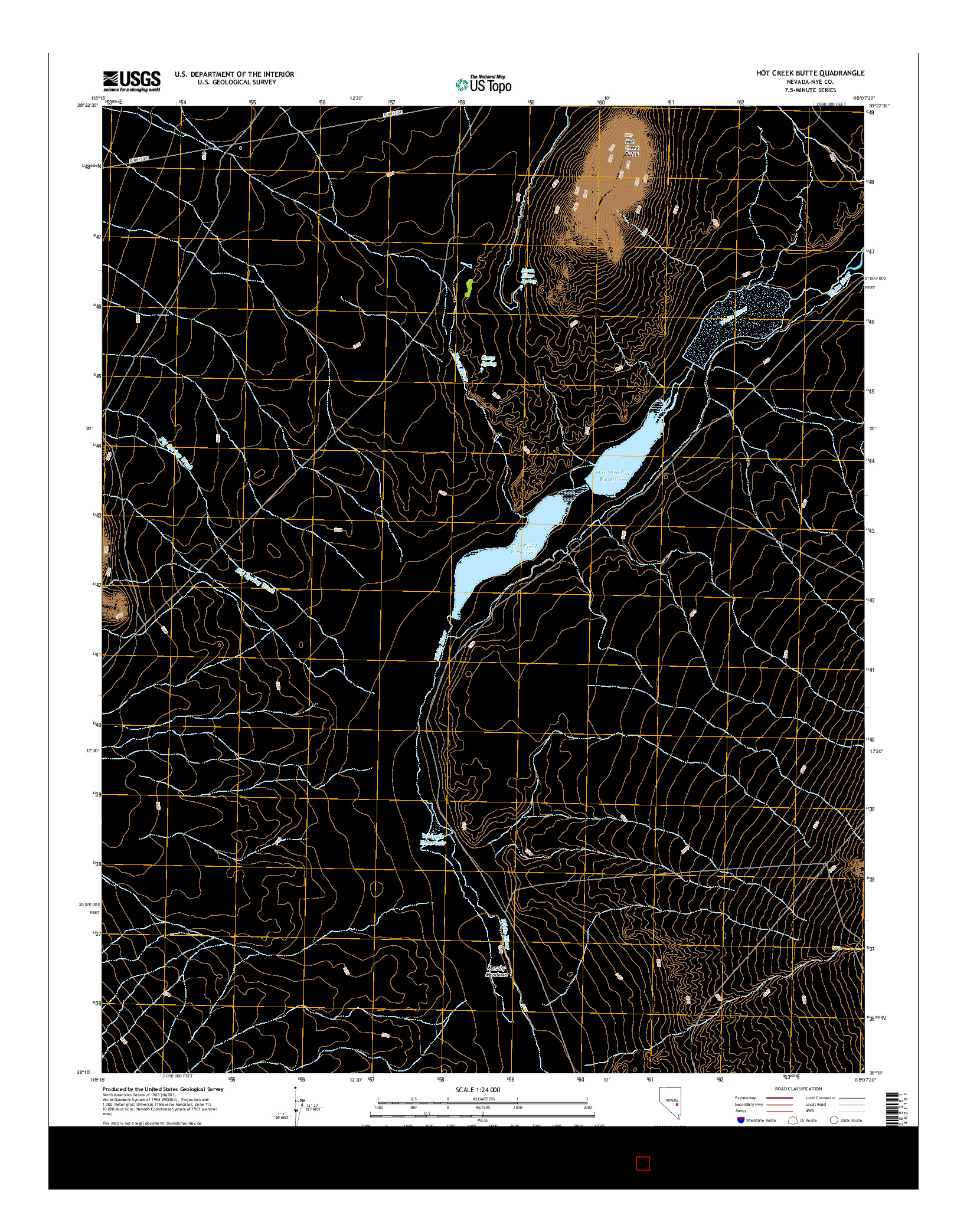 USGS US TOPO 7.5-MINUTE MAP FOR HOT CREEK BUTTE, NV 2014