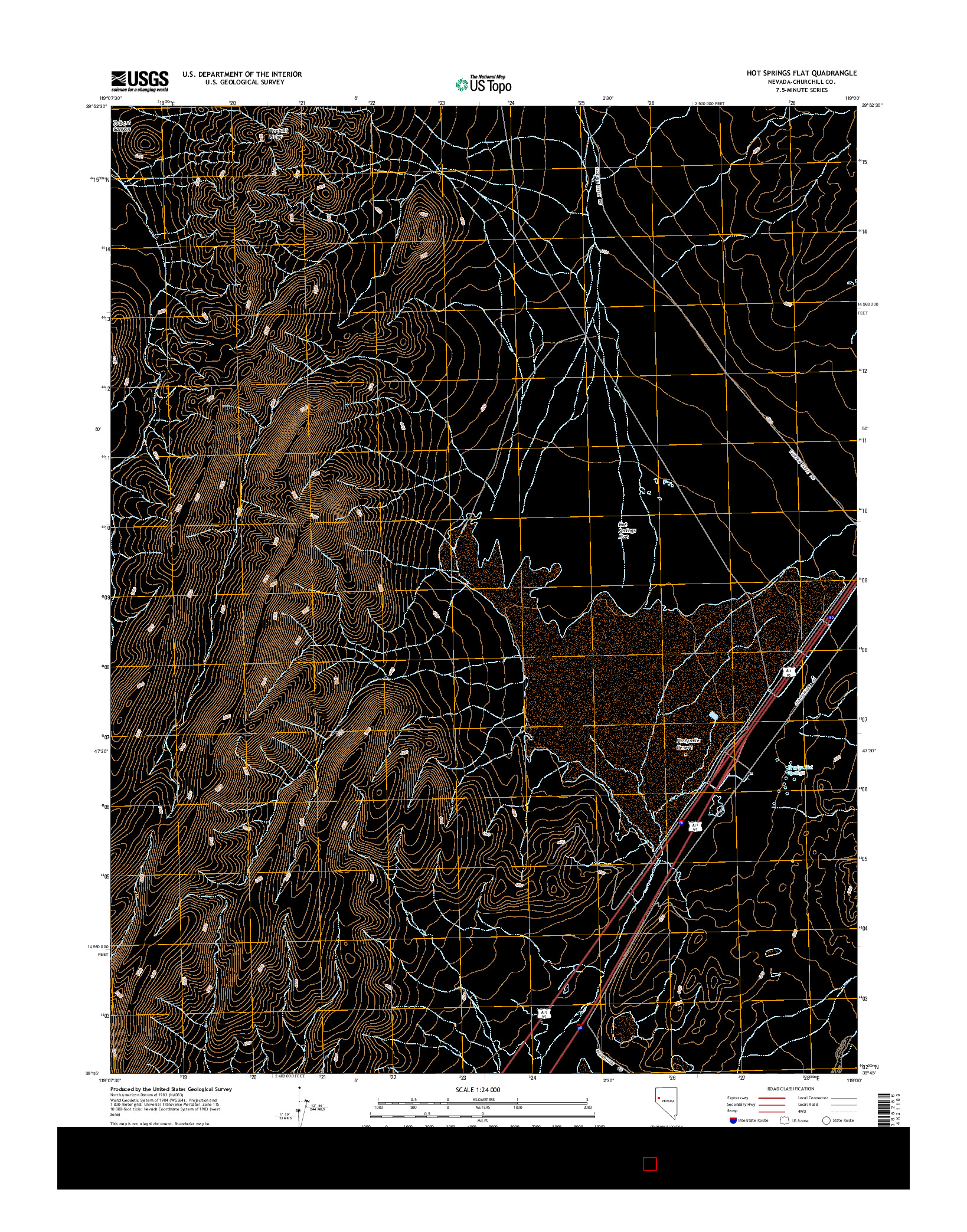 USGS US TOPO 7.5-MINUTE MAP FOR HOT SPRINGS FLAT, NV 2014